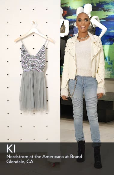 Amika Sequin & Mesh Party Dress, sales video thumbnail
