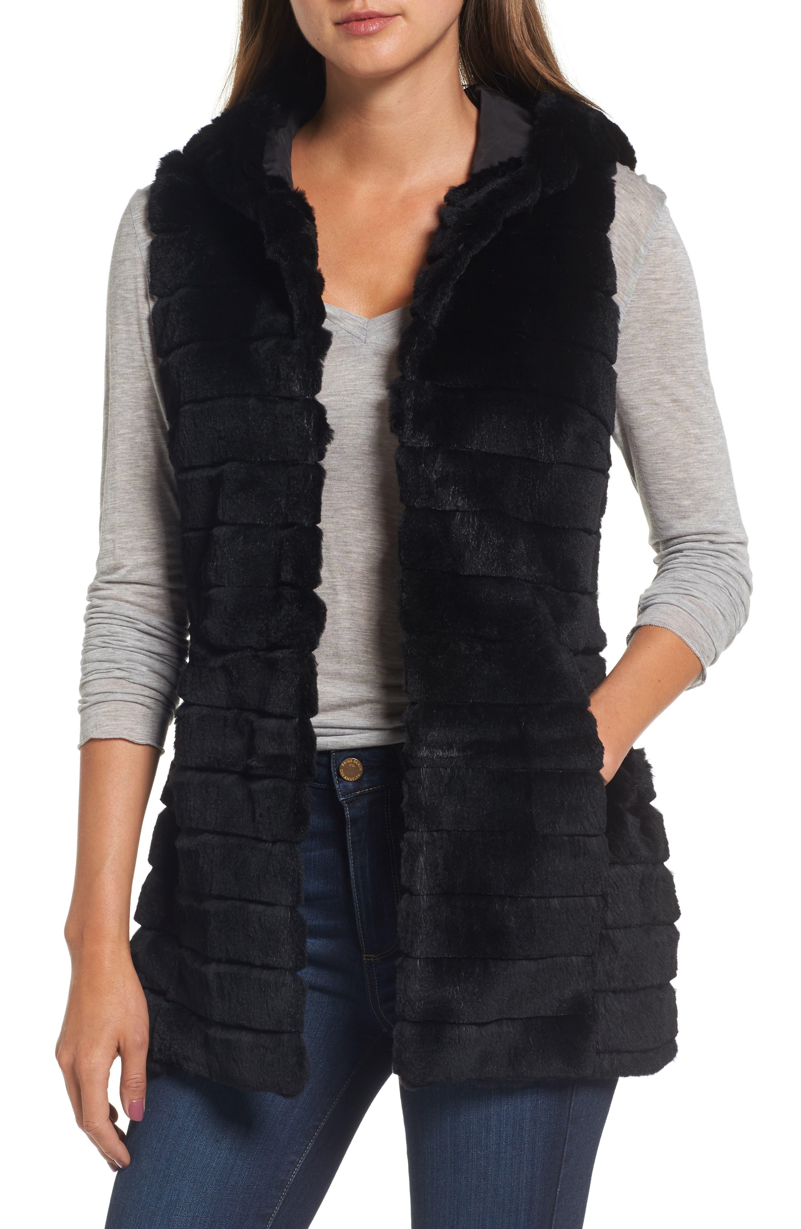 Genuine Rabbit Fur Hooded Vest,                         Main,                         color, 001