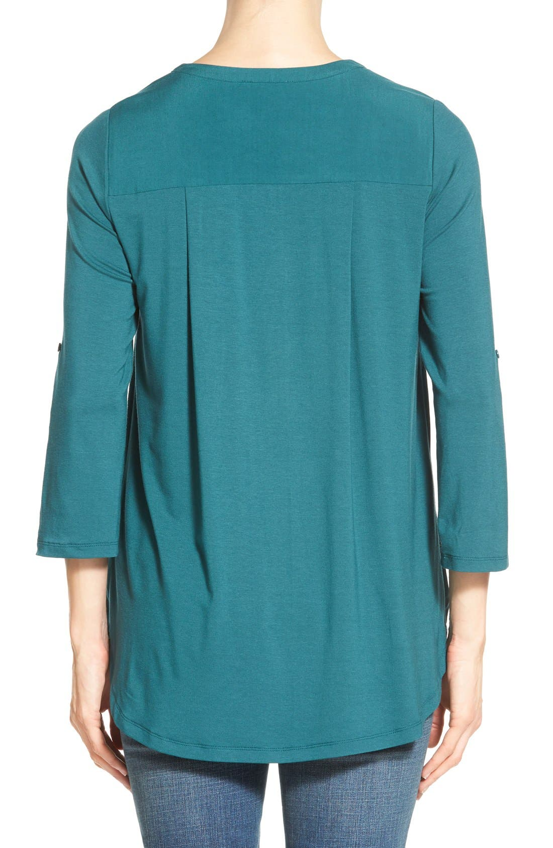 Mixed Media V-Neck Tunic,                             Alternate thumbnail 90, color,