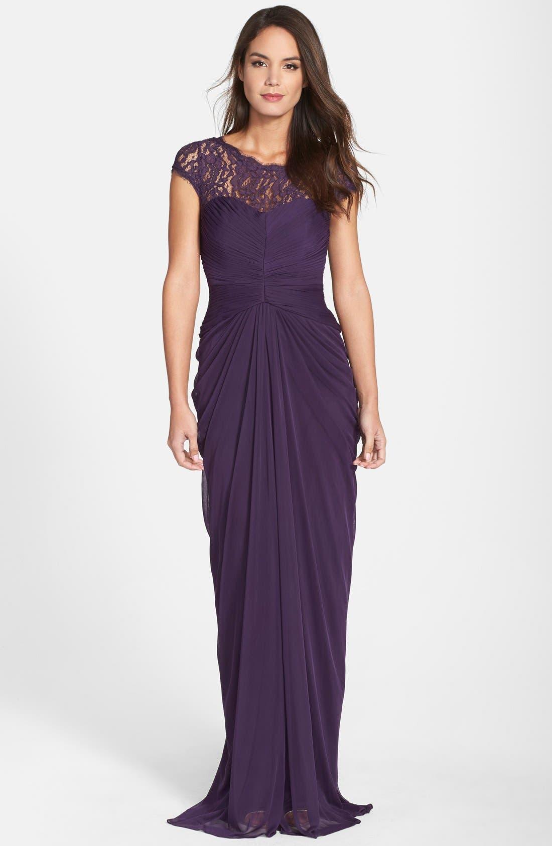 Lace Yoke Drape Gown,                             Main thumbnail 2, color,