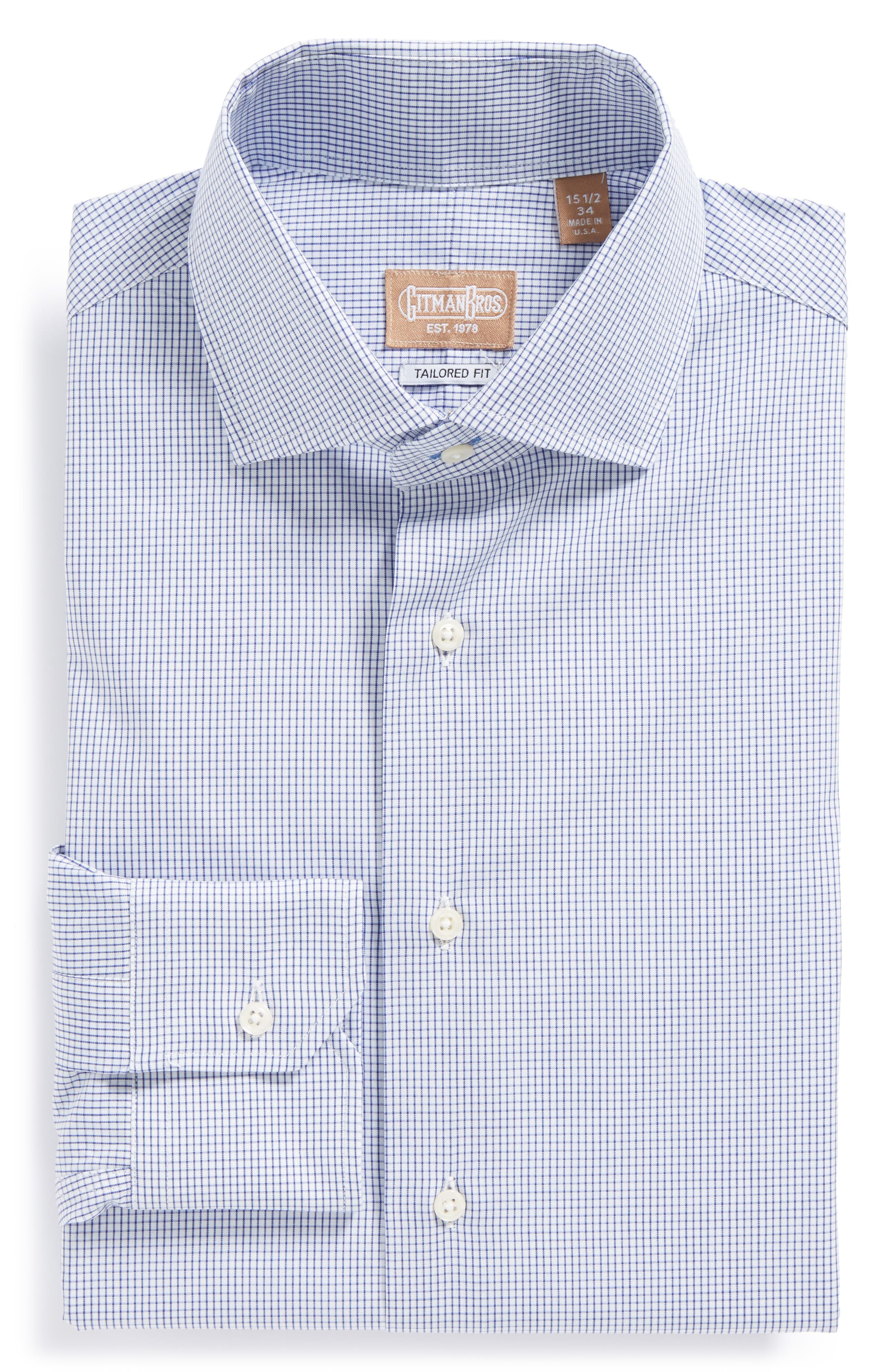 Tailored Fit Gingham Dress Shirt,                             Alternate thumbnail 4, color,                             NAVY