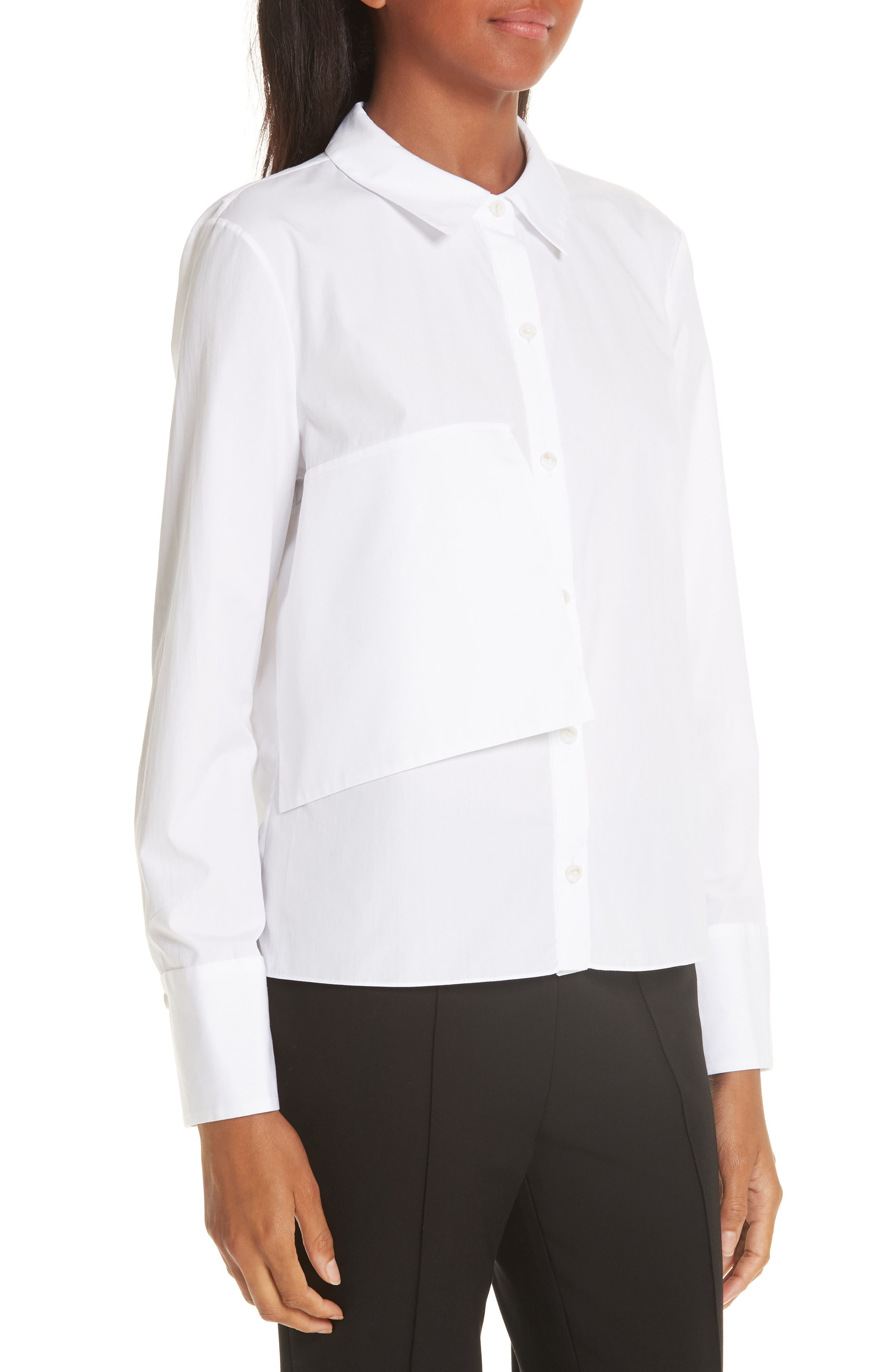 Brushed Cotton Top,                             Alternate thumbnail 4, color,                             WHITE