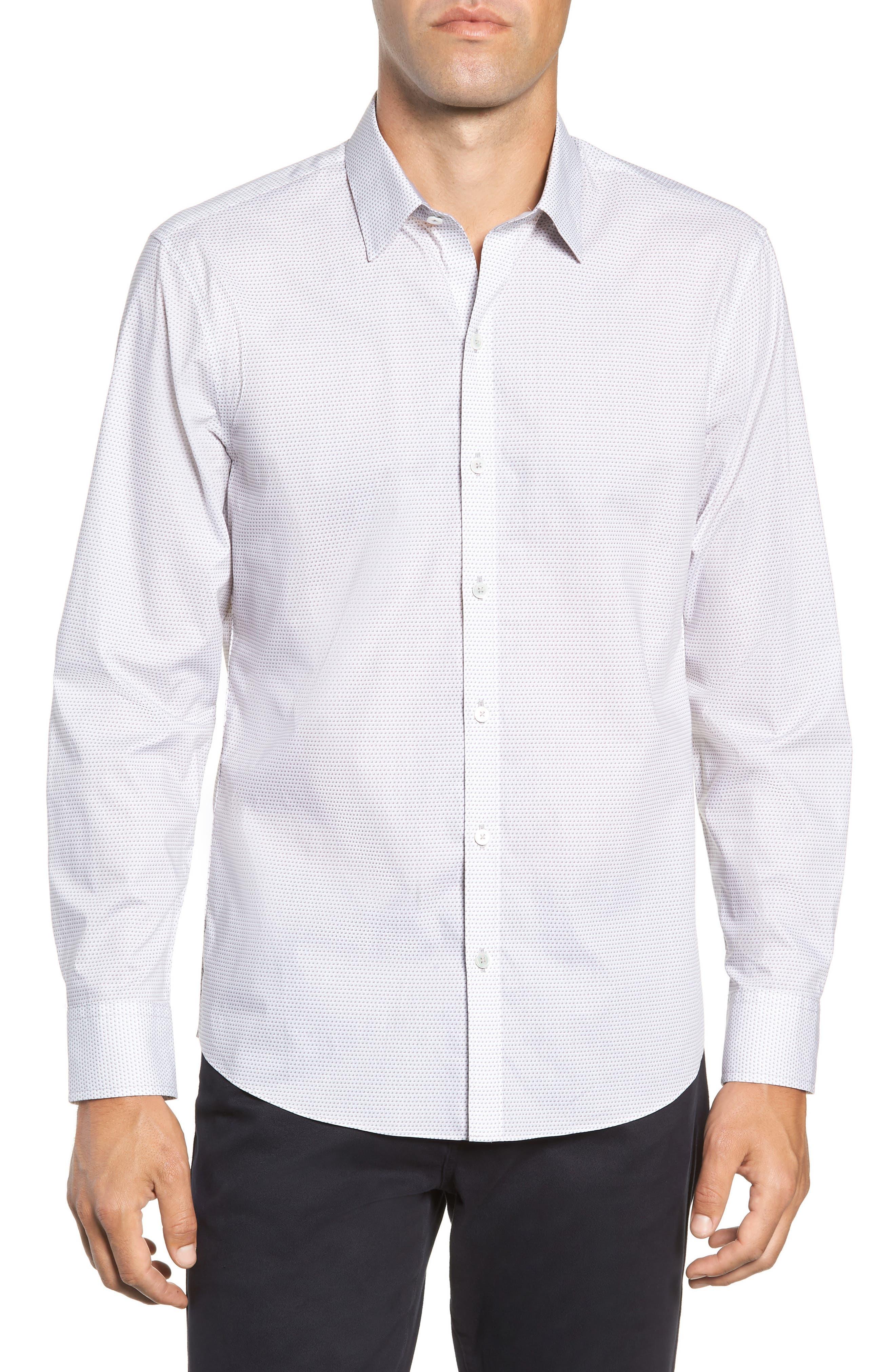 Toledo Regular Fit Microdot Sport Shirt,                         Main,                         color, WHITE