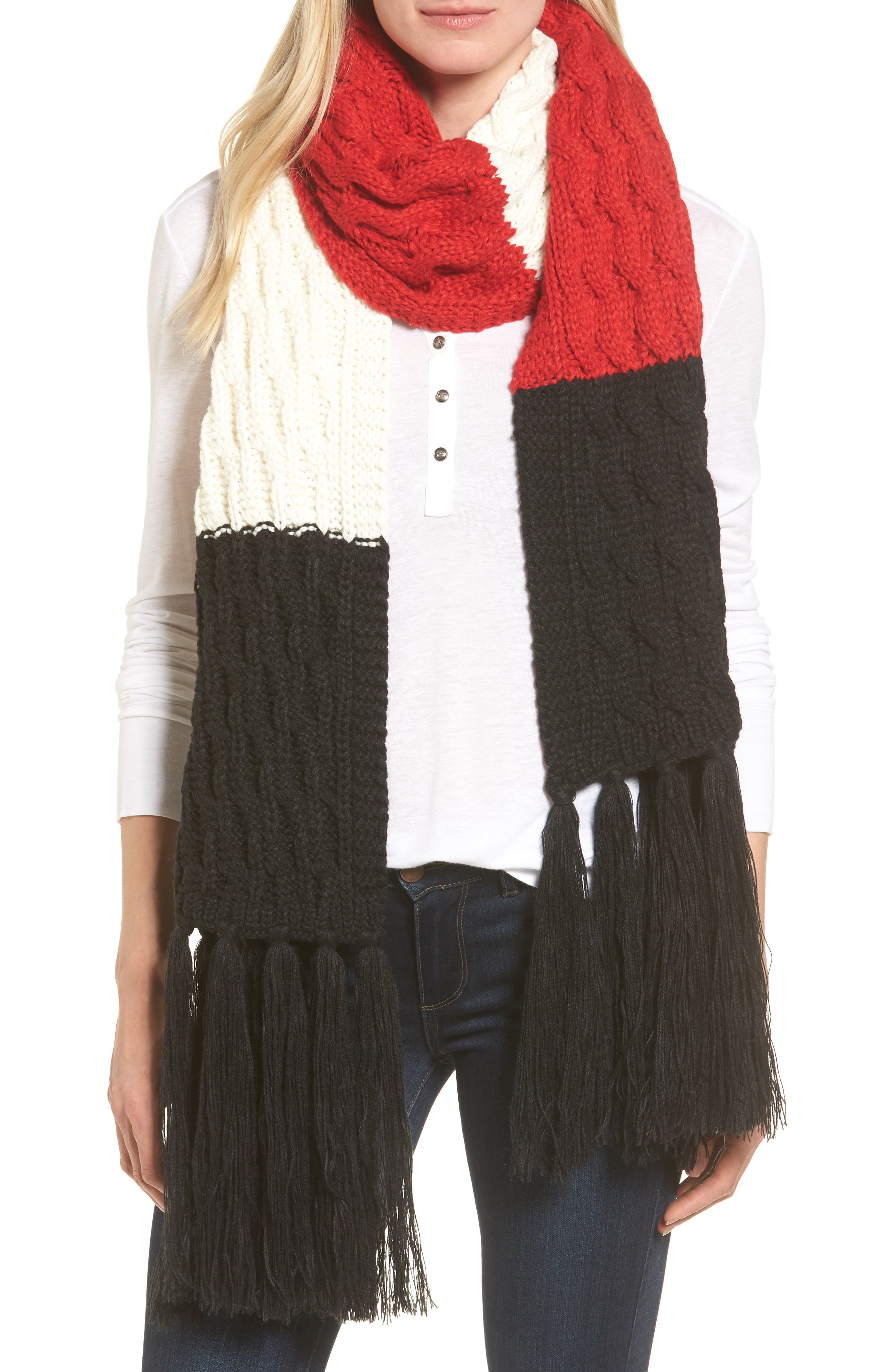 Colorblocked Fringe Scarf,                             Main thumbnail 1, color,                             001