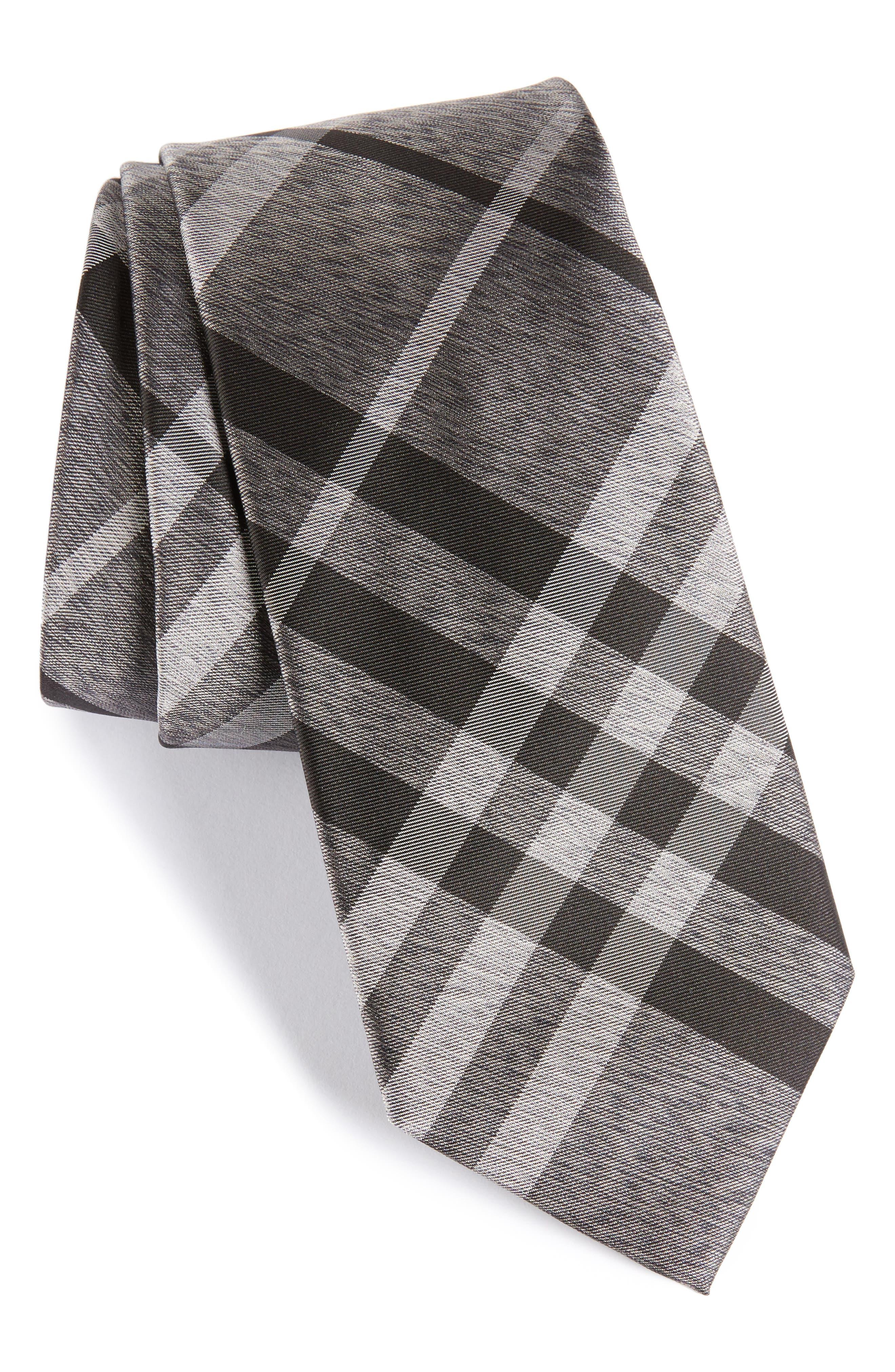 Manston Check Silk Tie,                         Main,                         color, MINERAL GREY