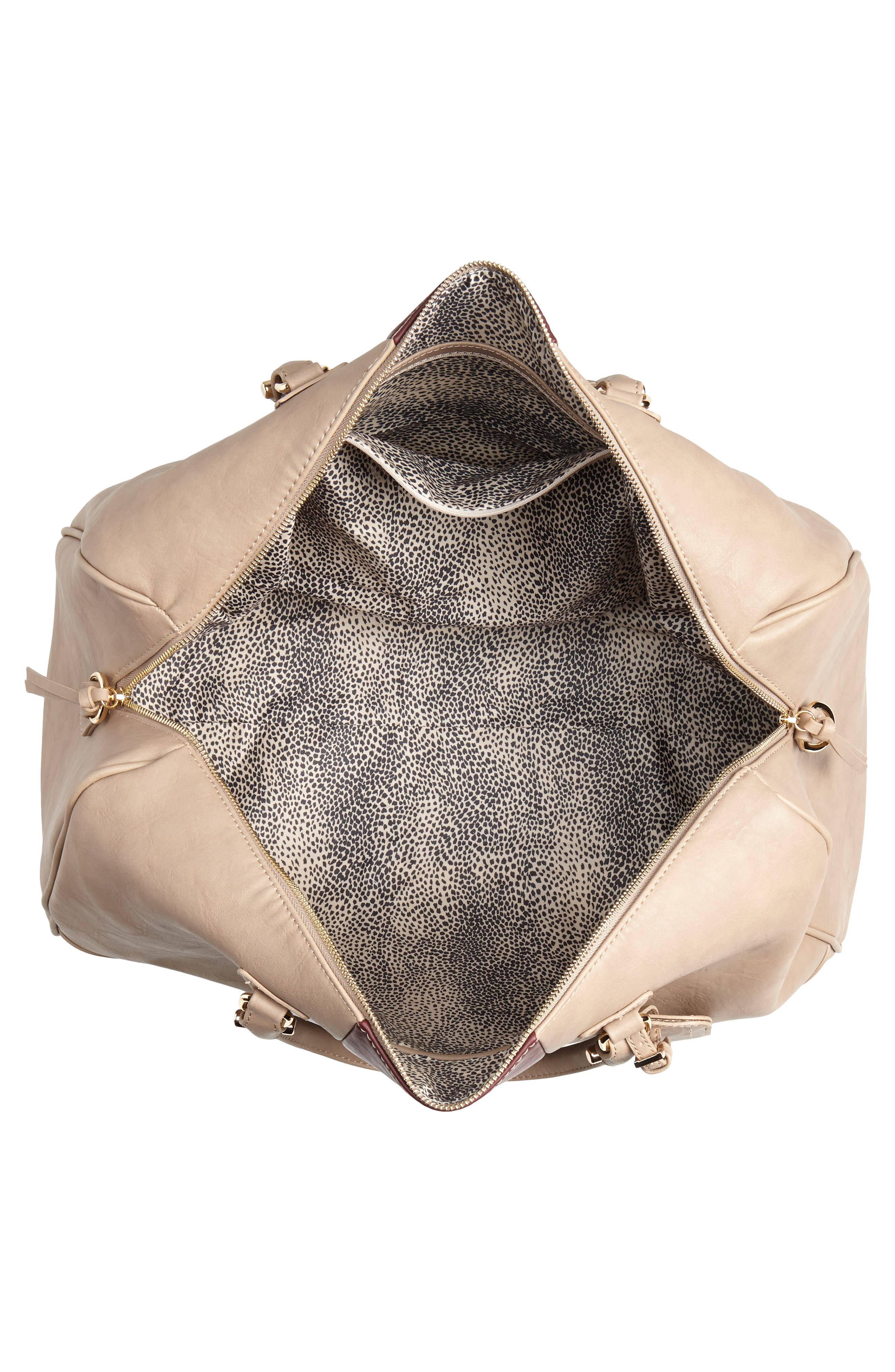 'Robin' Faux Leather Weekend Bag,                             Alternate thumbnail 4, color,                             TAUPE