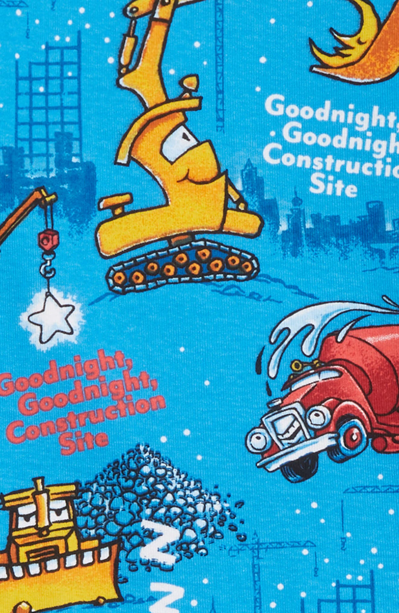 Goodnight Construction Site Fitted Two-Piece Pajamas & Book Set,                             Alternate thumbnail 2, color,                             BLUE