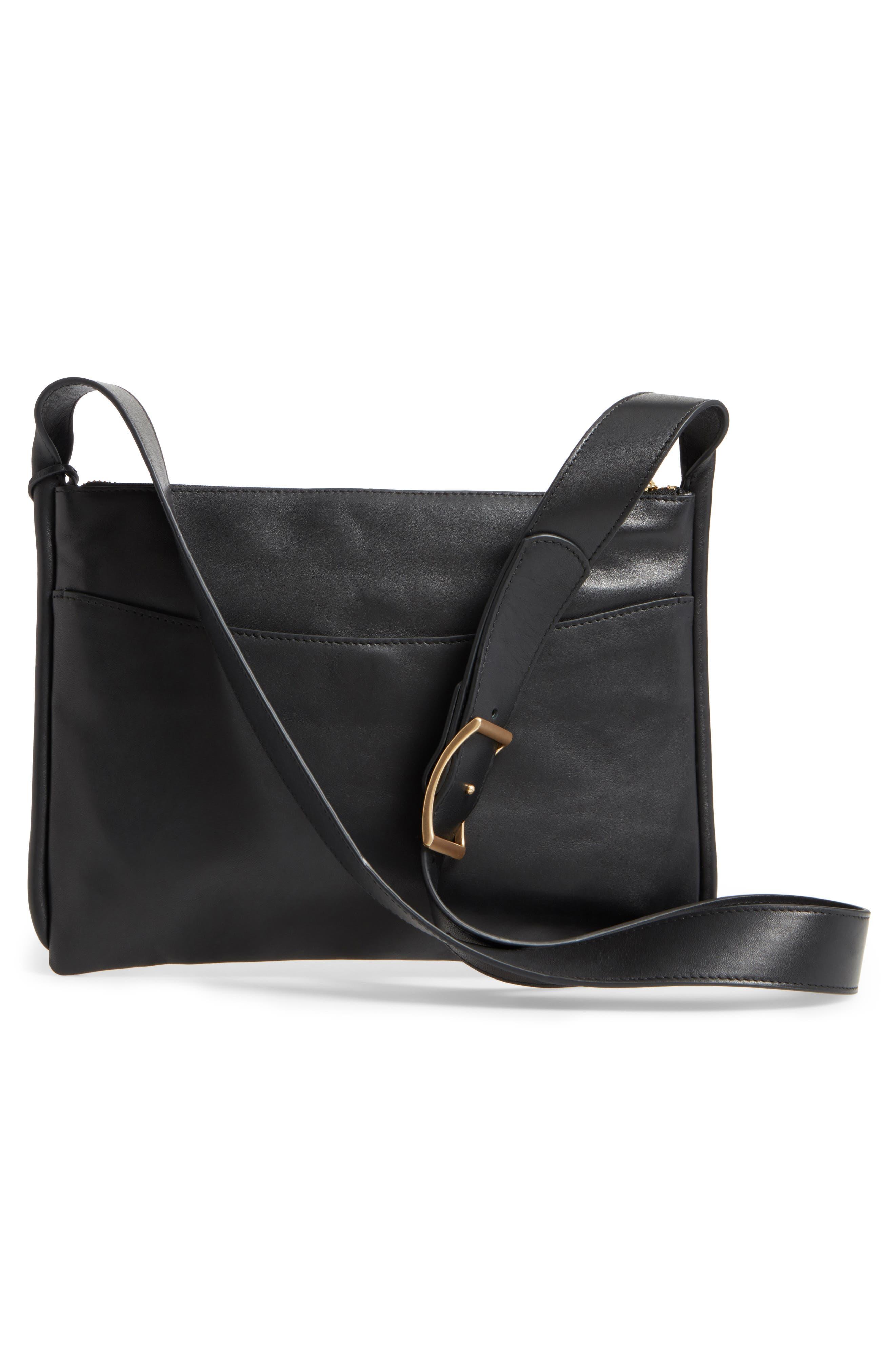 Slim Anesa Leather Crossbody Bag,                             Alternate thumbnail 3, color,                             001