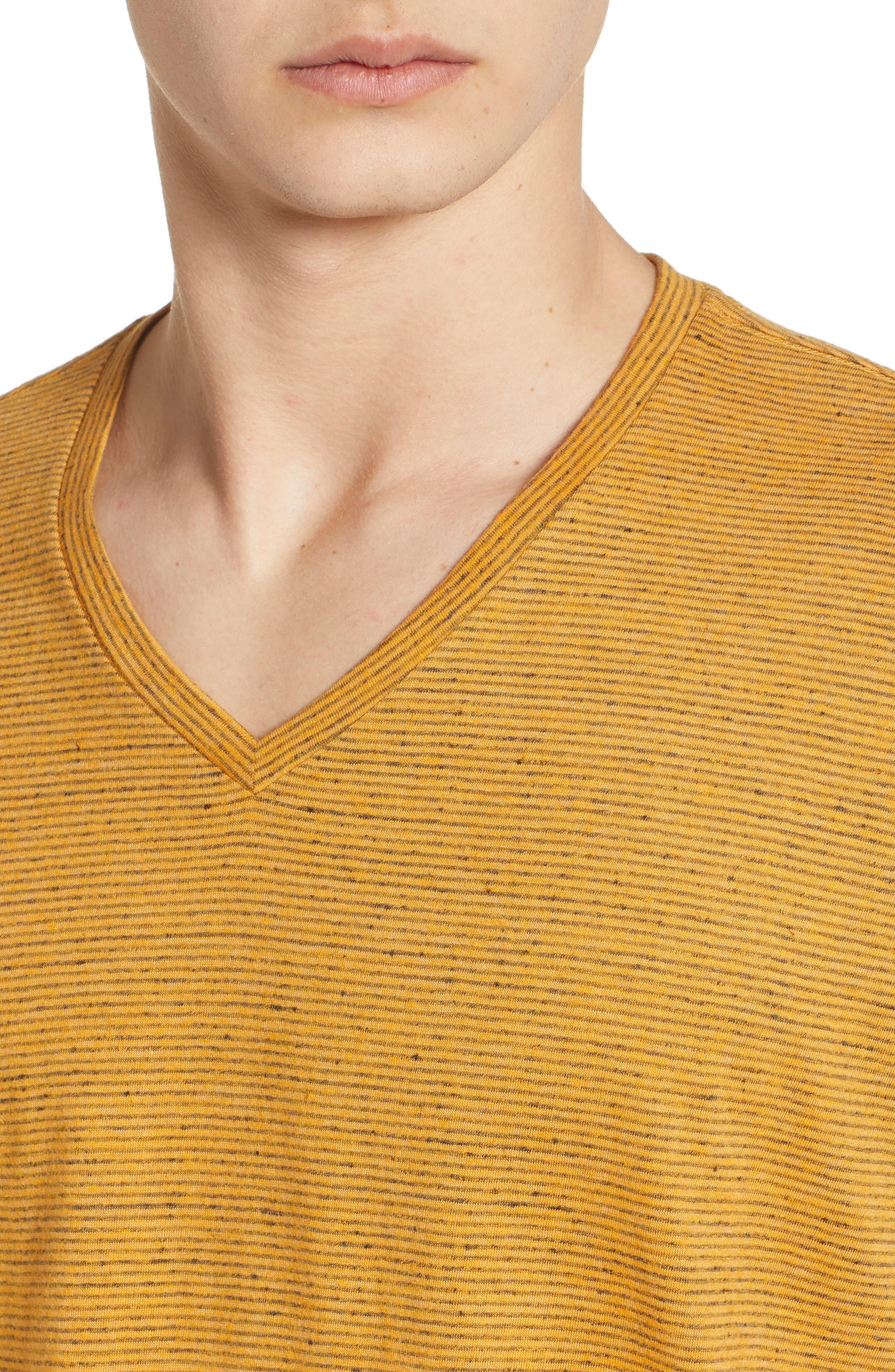 Fine Stripe V-Neck T-Shirt,                             Alternate thumbnail 4, color,
