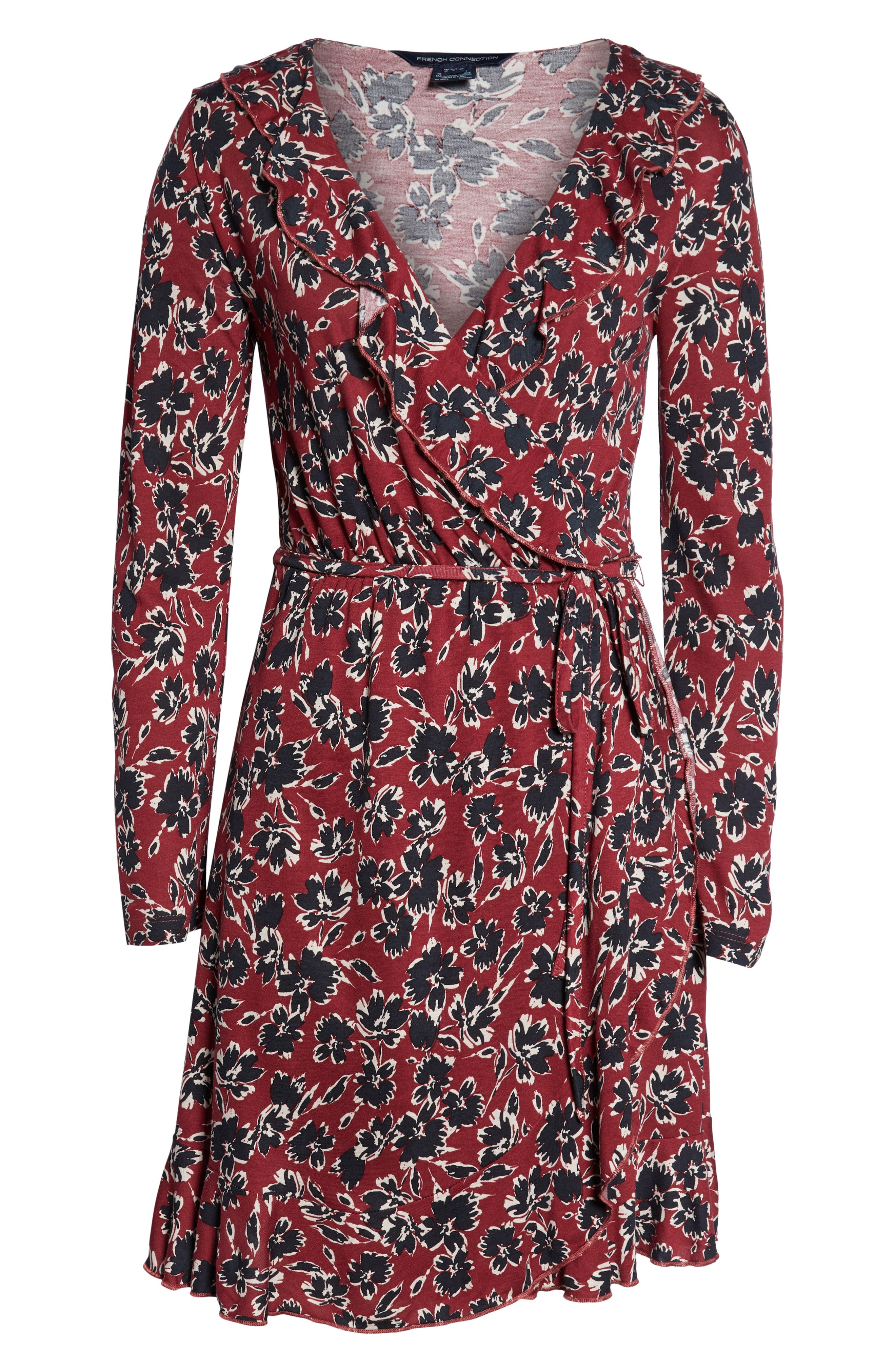 FRENCH CONNECTION,                             Aubi Meadow Jersey Dress,                             Alternate thumbnail 7, color,                             ROSSO RED MULTI