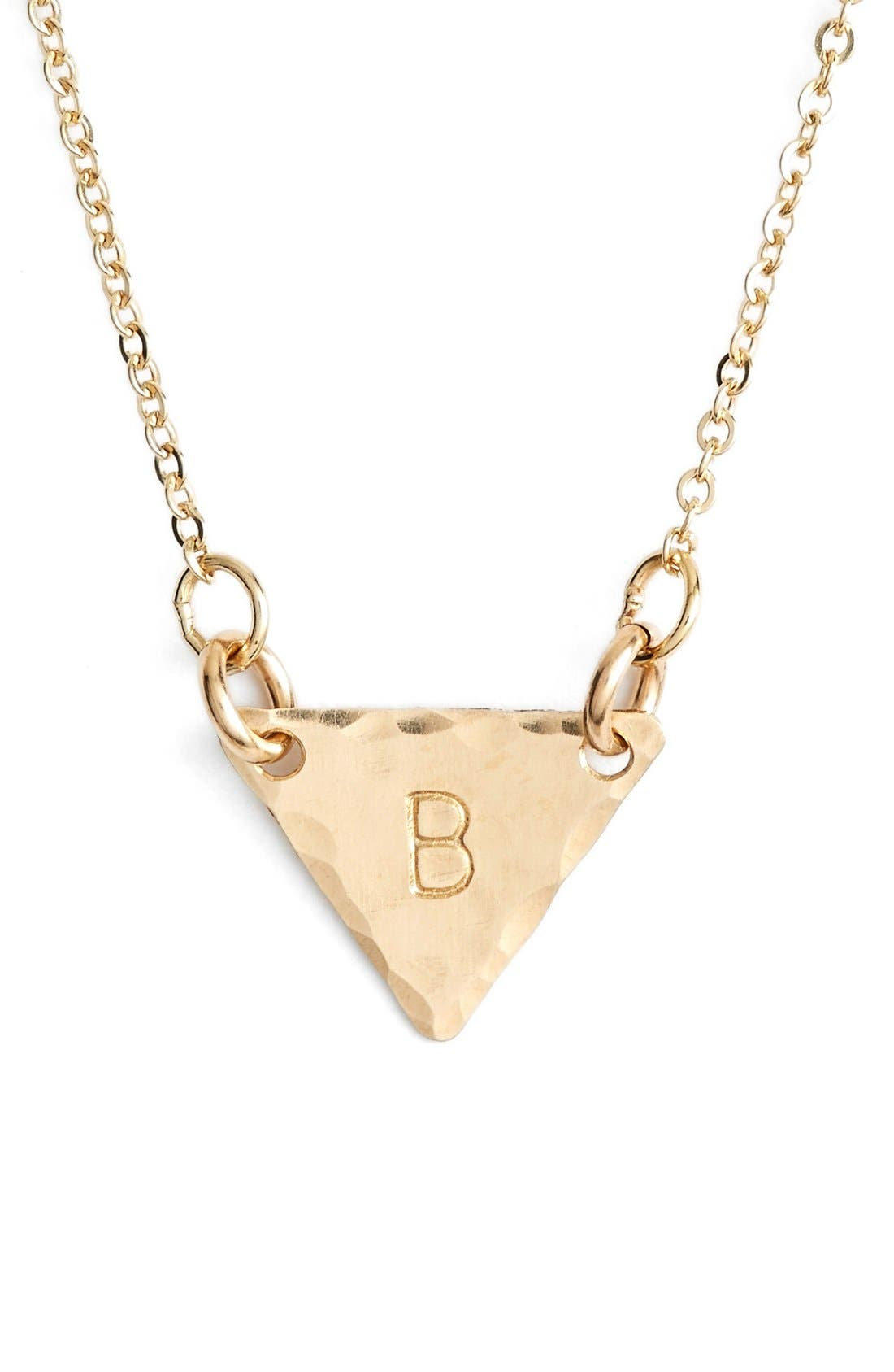 14k-Gold Fill Initial Triangle Necklace,                             Main thumbnail 2, color,
