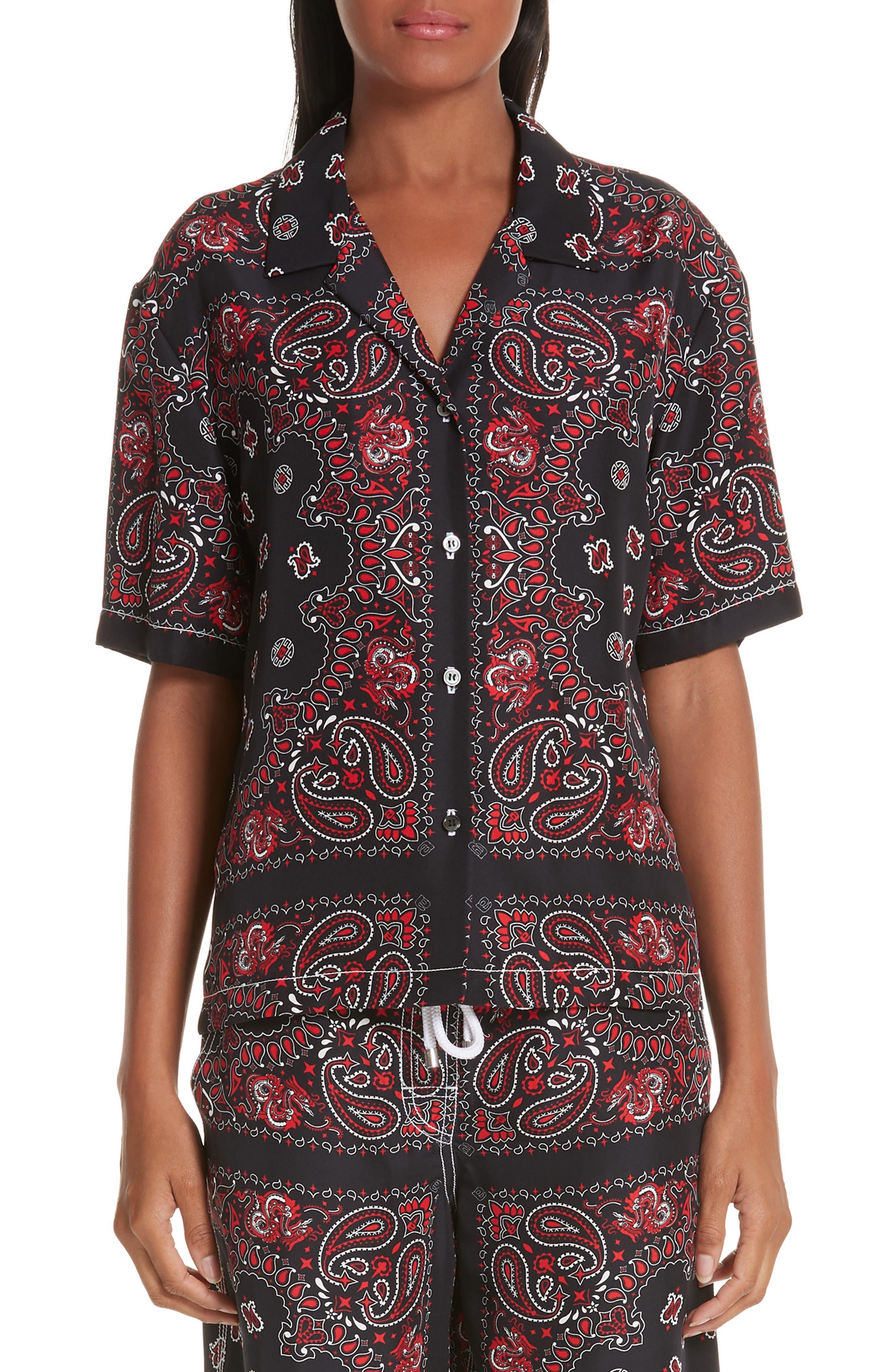 ALEXANDER WANG,                             Bandana Print Silk Shirt,                             Main thumbnail 1, color,                             BLACK/ RED