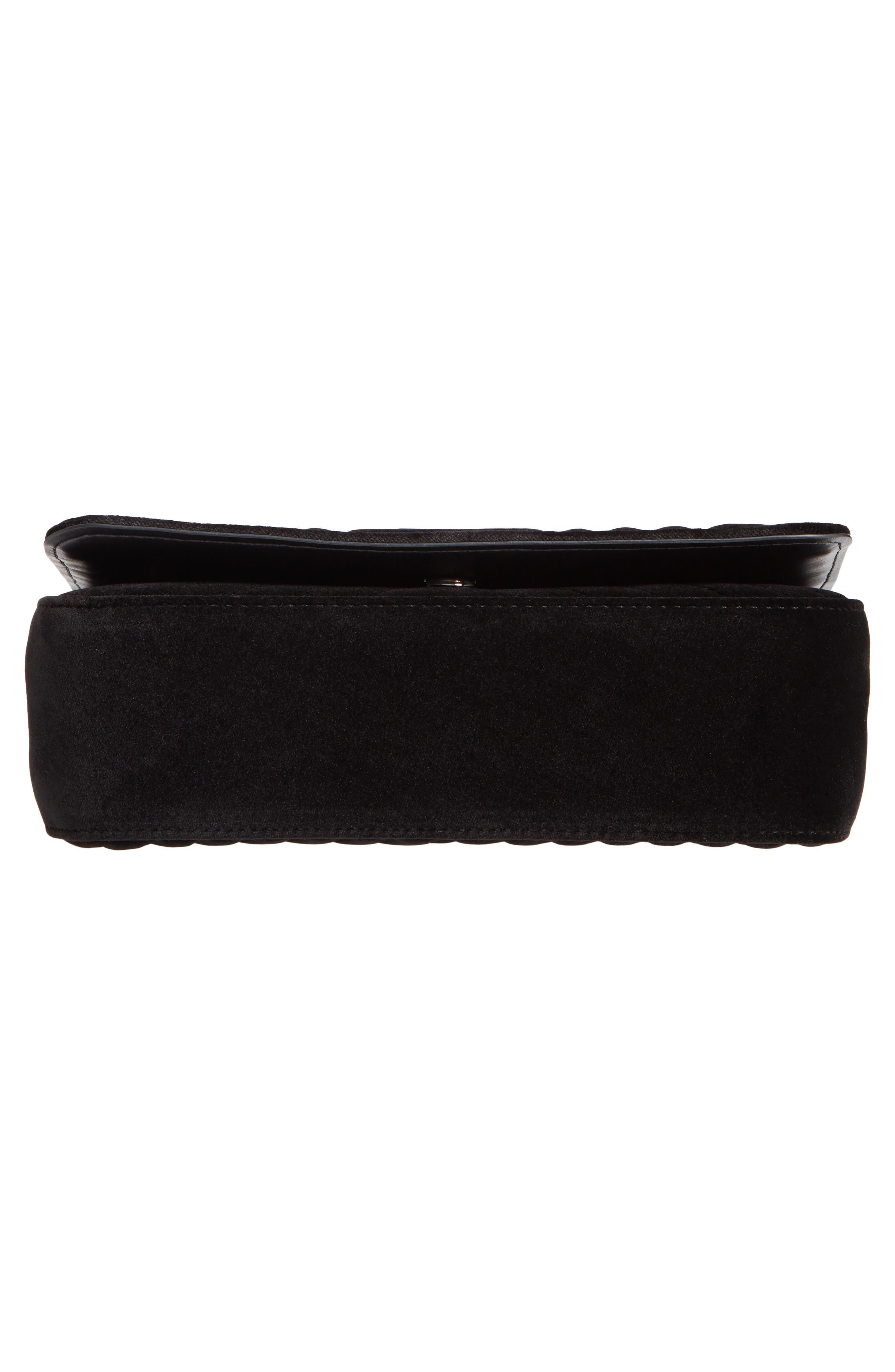 Medium Velvet Star Shoulder Bag,                             Alternate thumbnail 6, color,                             BLACK