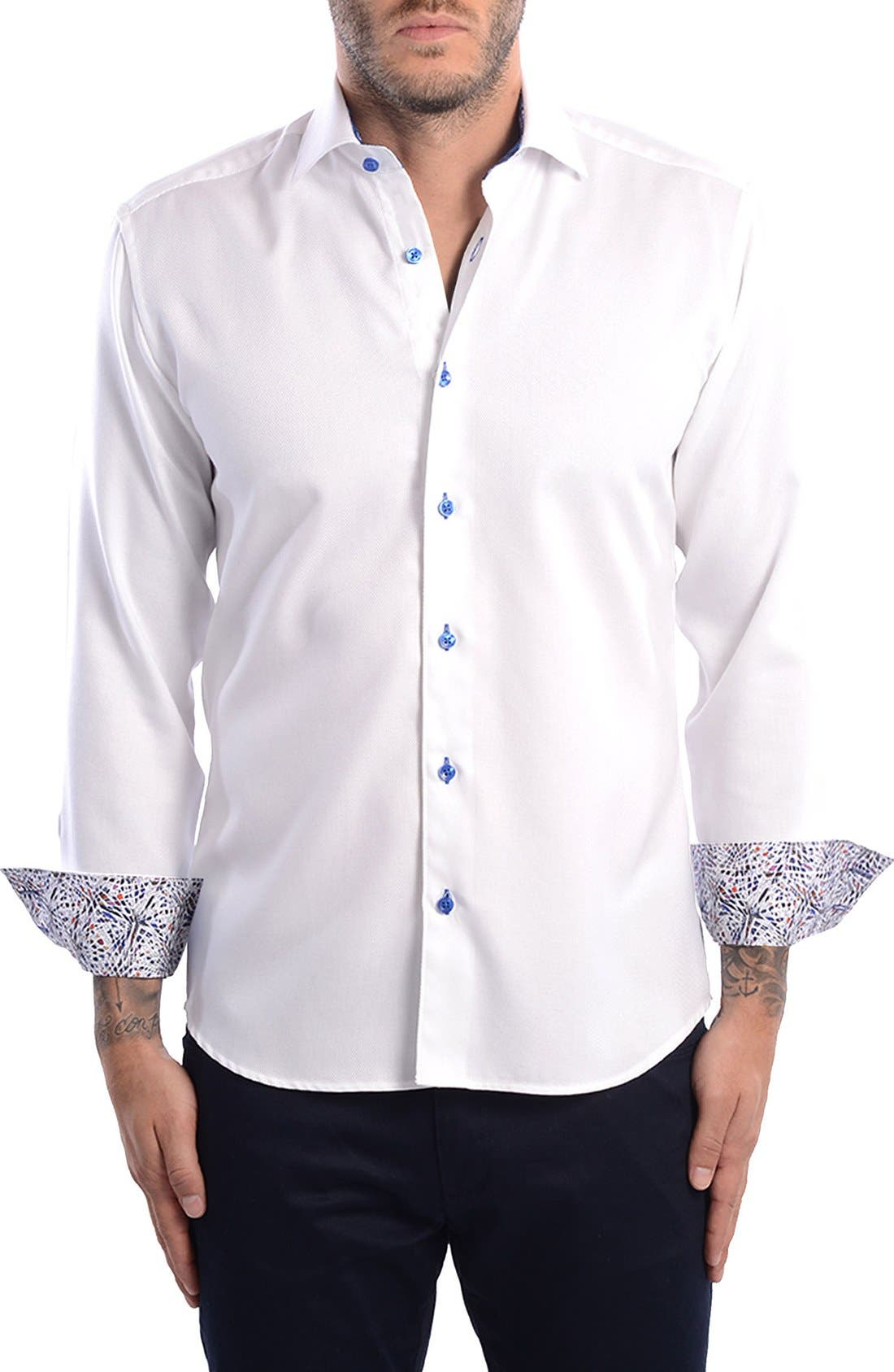 White Arrow Dobby Modern Fit Sport Shirt,                             Main thumbnail 1, color,