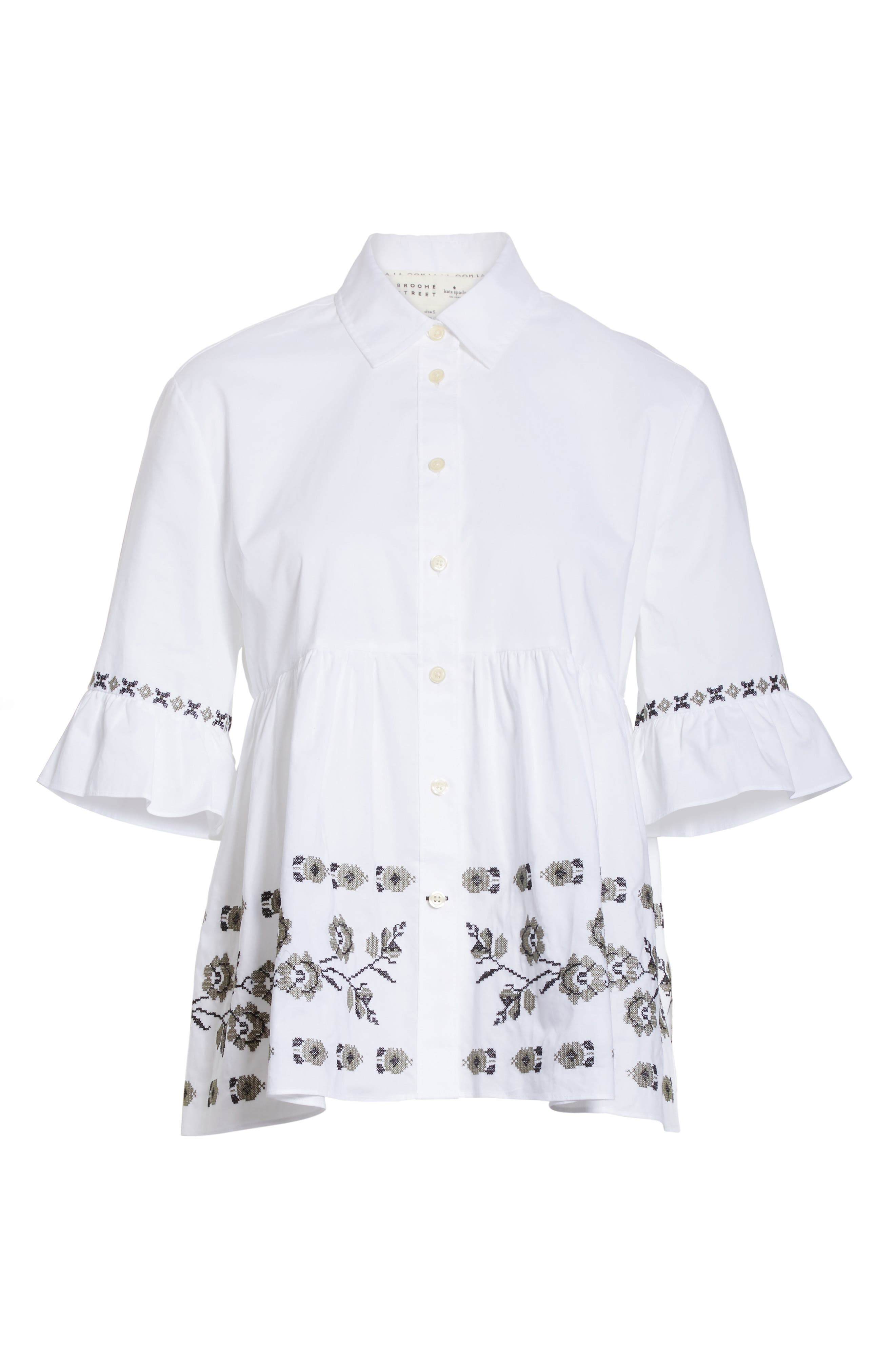 embroidered ruffle shirt,                             Alternate thumbnail 6, color,                             107