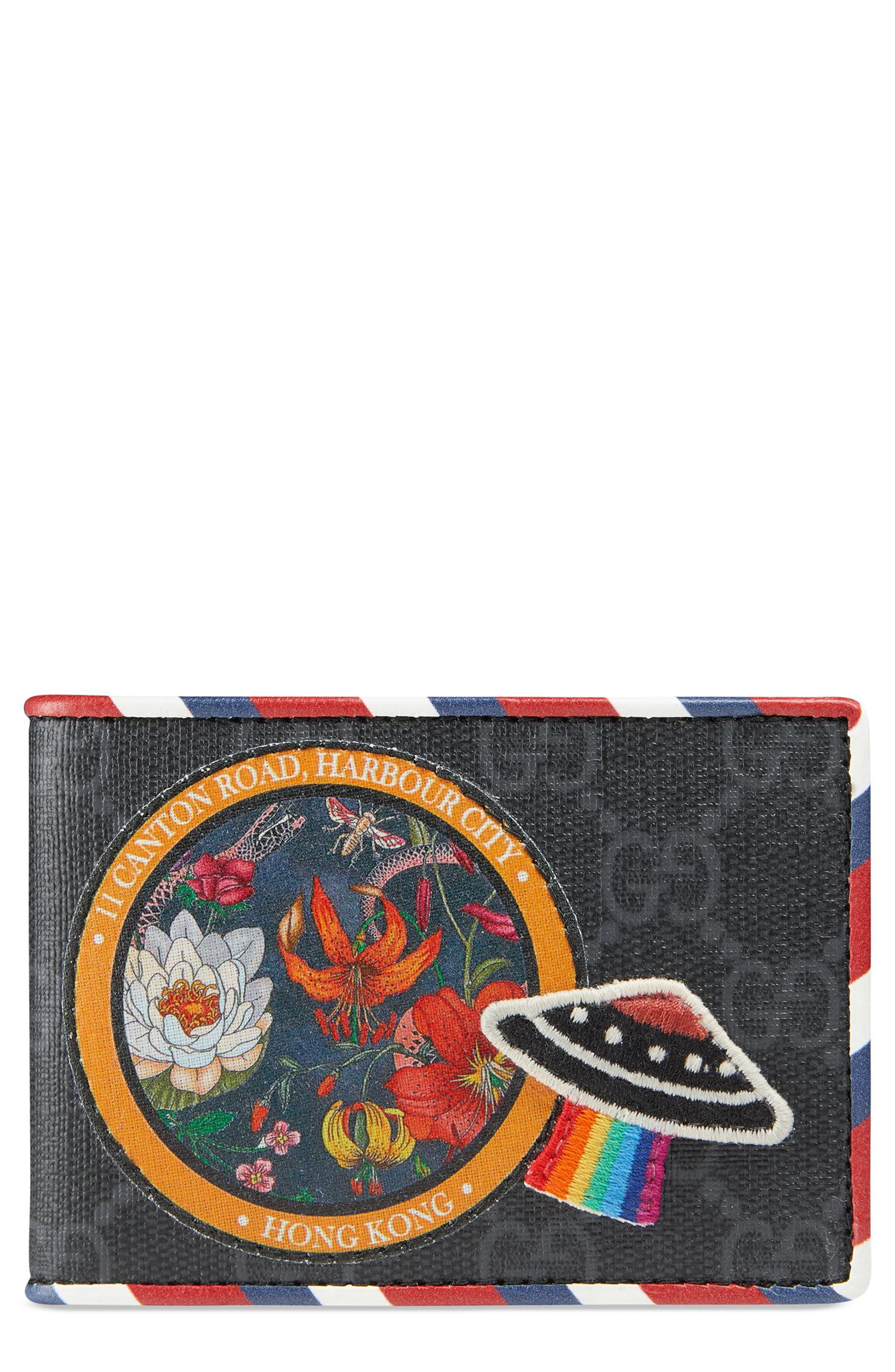 GG Supreme Patch Wallet,                             Main thumbnail 1, color,                             BLACK