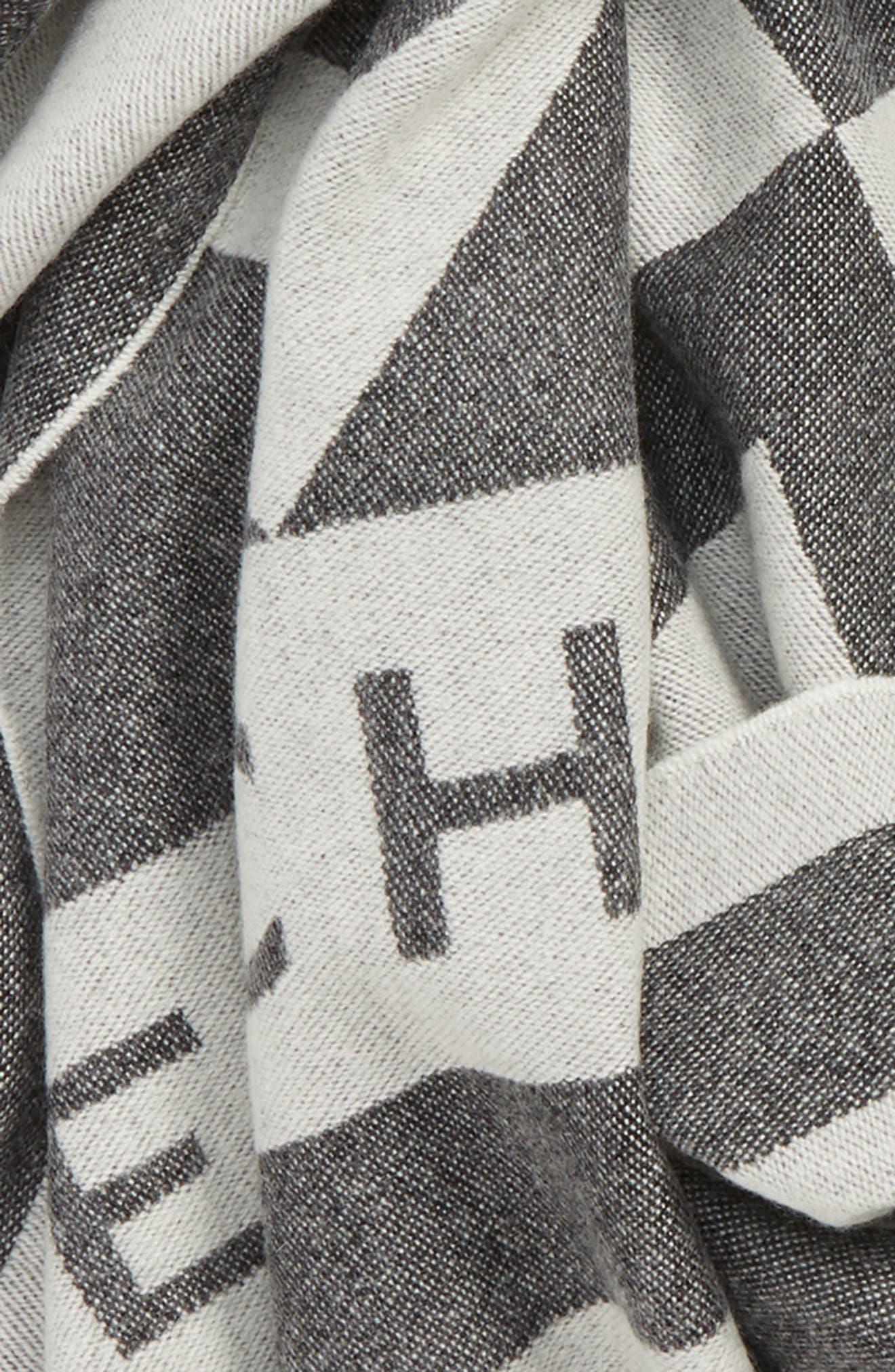 GIVENCHY,                             Nouveau G Wool & Cashmere Scarf,                             Alternate thumbnail 4, color,                             BLACK/ WHITE