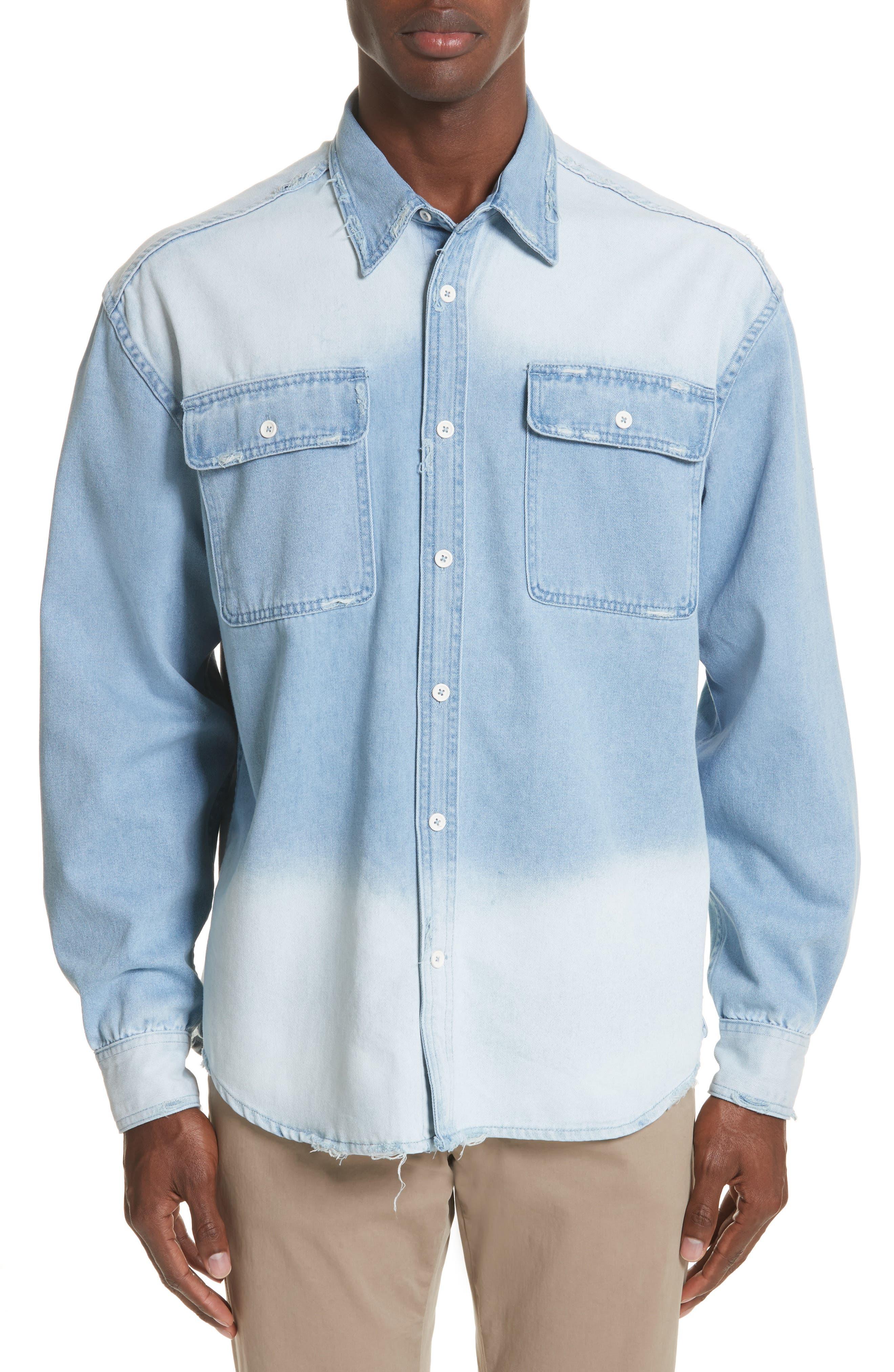 Oversize Distressed Denim Shirt,                         Main,                         color, WASHED DENIM