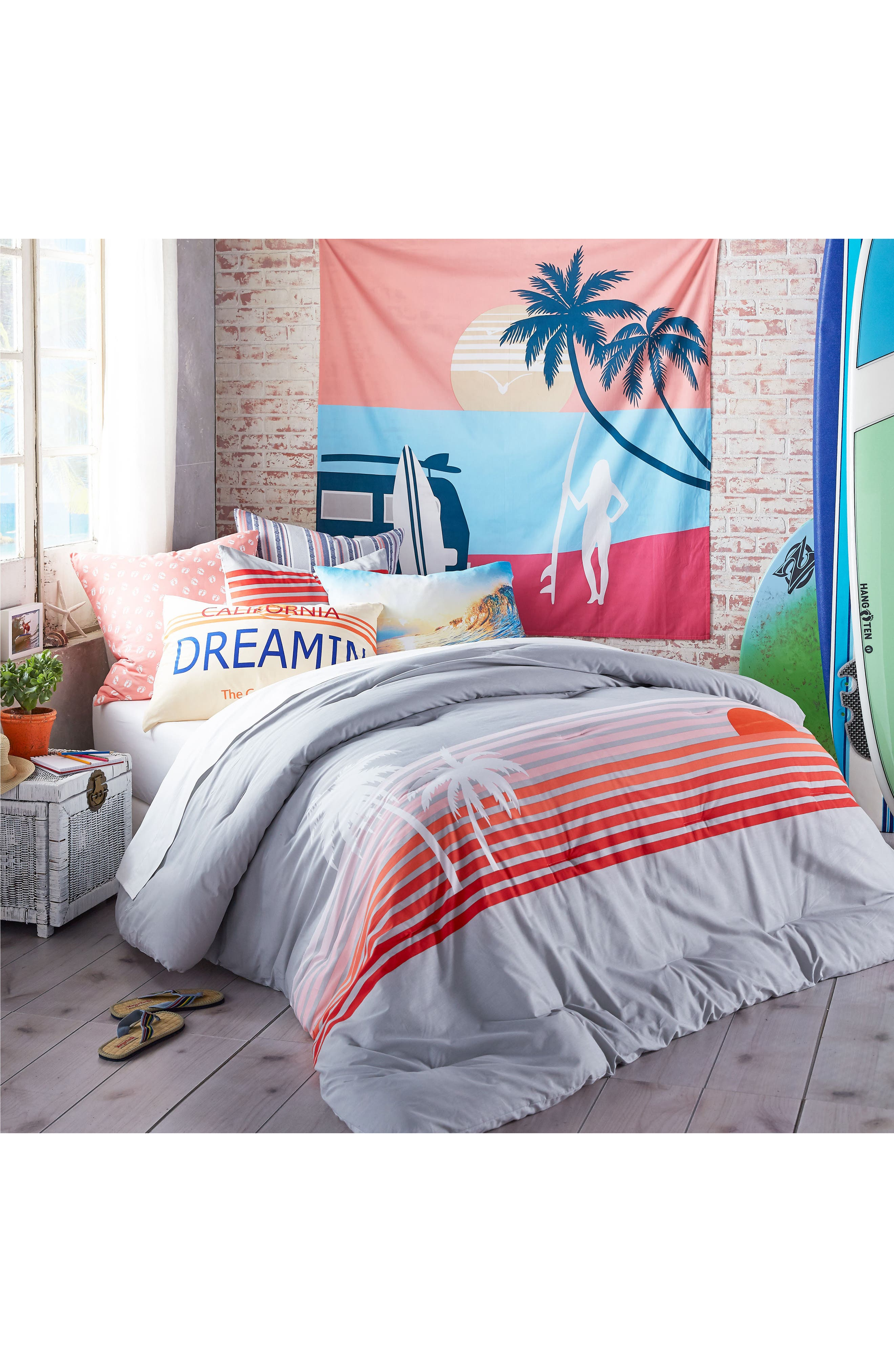 Sunset Stripe Duvet Cover & Sham Set,                             Main thumbnail 1, color,                             020