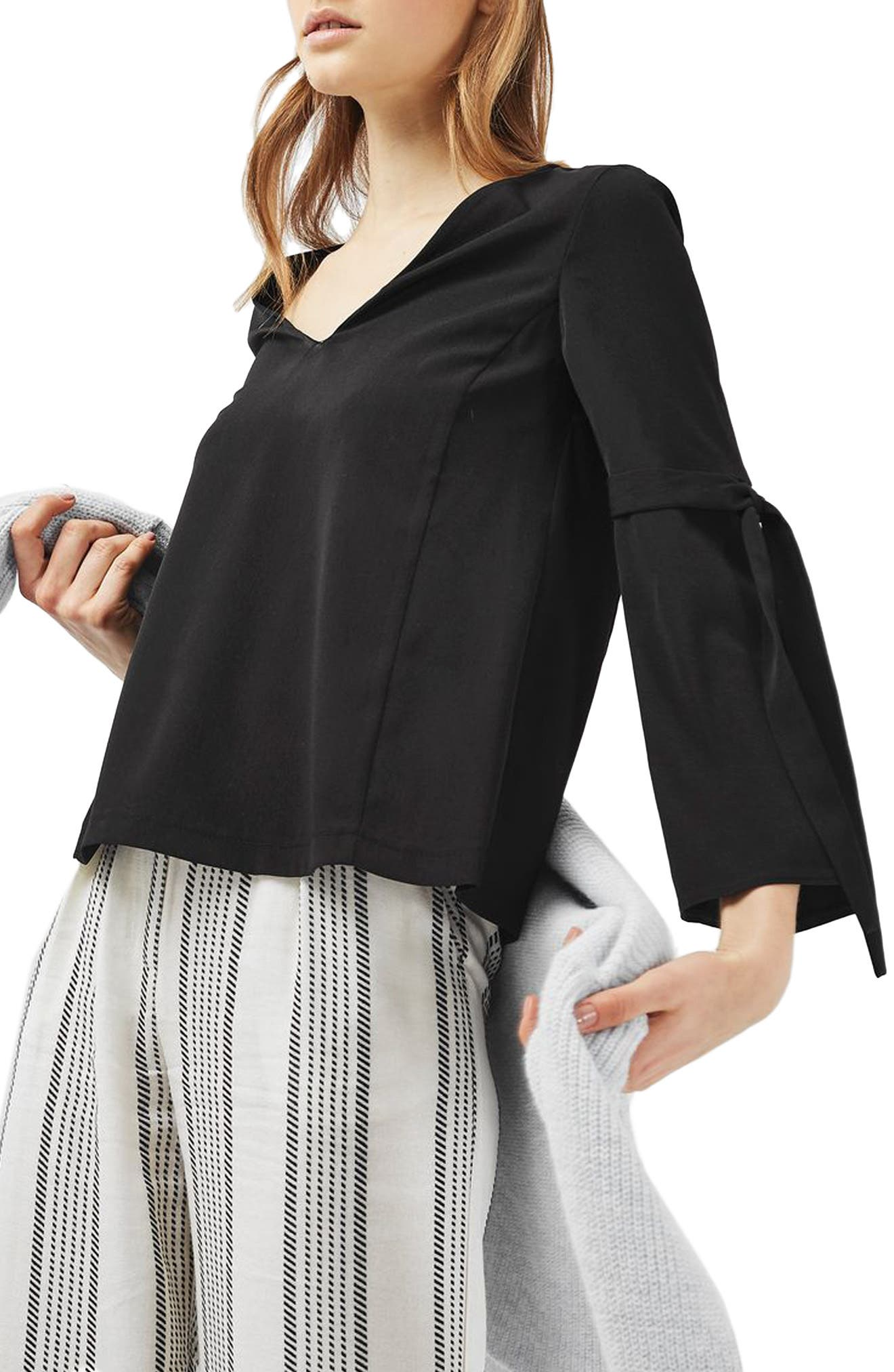 Tie Sleeve Top, Main, color, 001