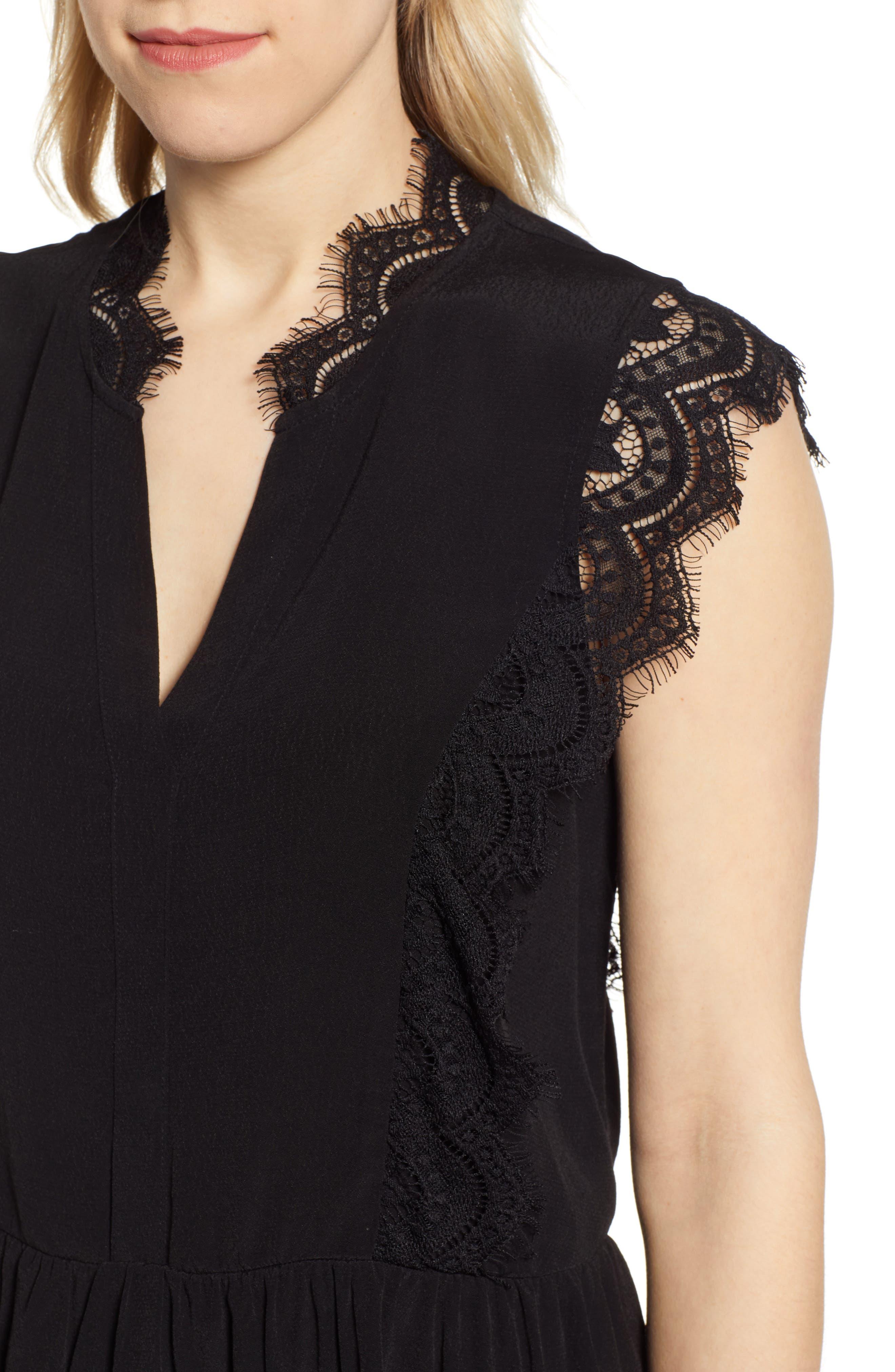 GIBSON,                             x International Women's Day Hoang-Kim Eyelash Lace Detail Date Top,                             Alternate thumbnail 4, color,                             BLACK