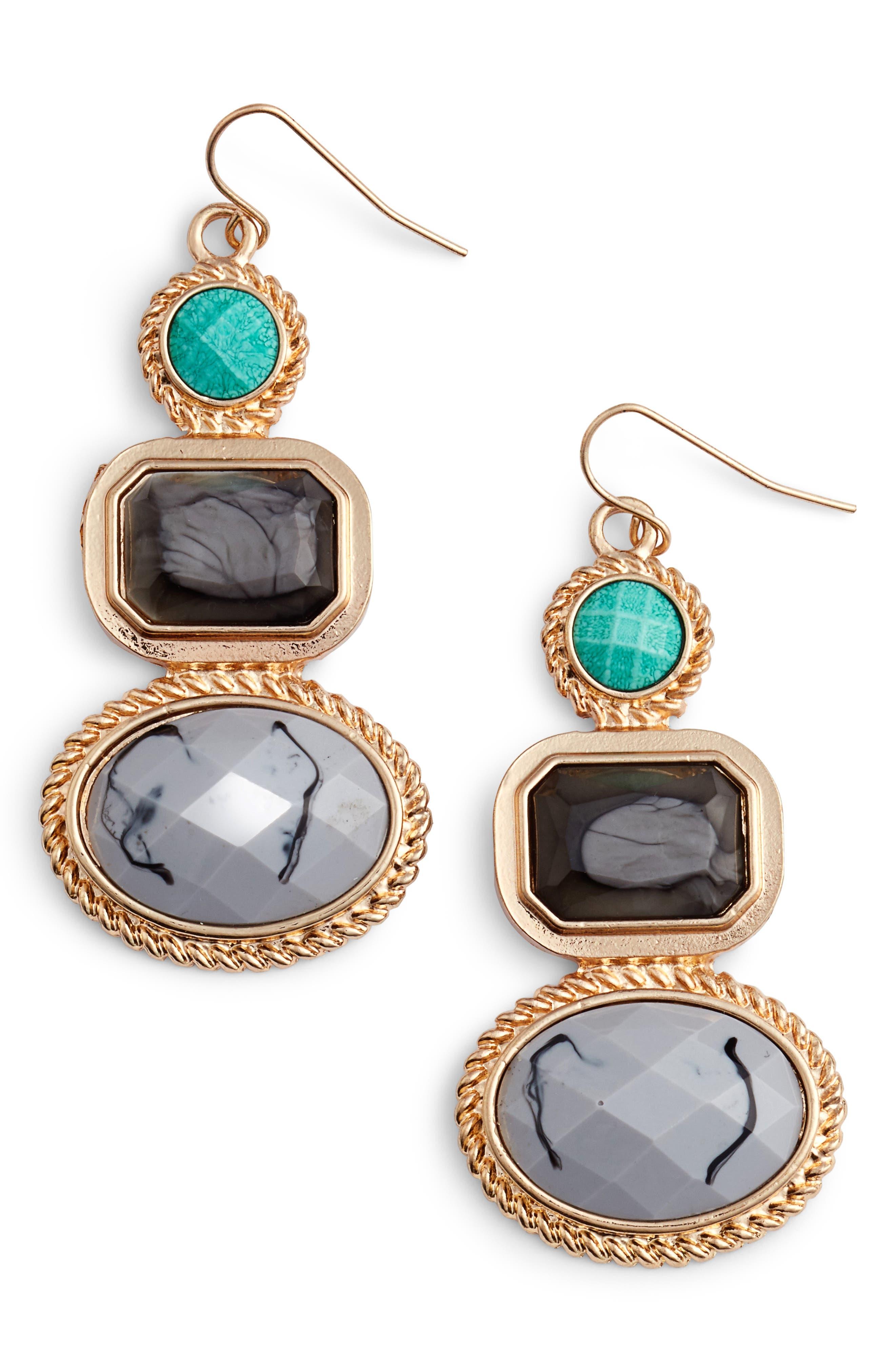 Stone Drop Earrings,                             Main thumbnail 1, color,                             025