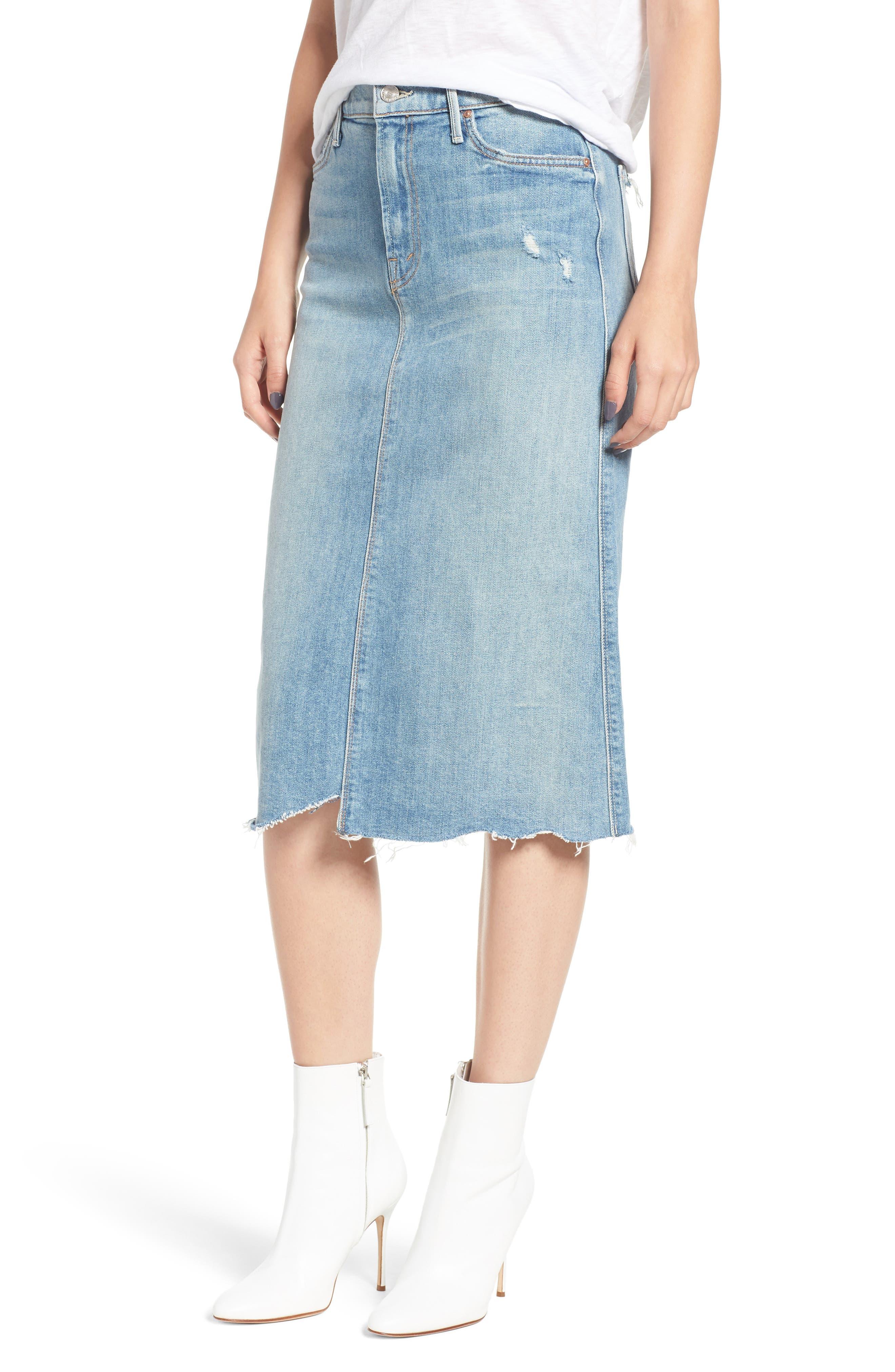 Swooner Straight-A Chewed Hem Denim Skirt,                         Main,                         color, 450