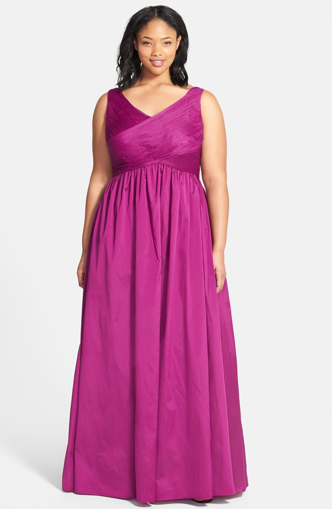Sleeveless Taffeta & Tulle Gown,                         Main,                         color, 650