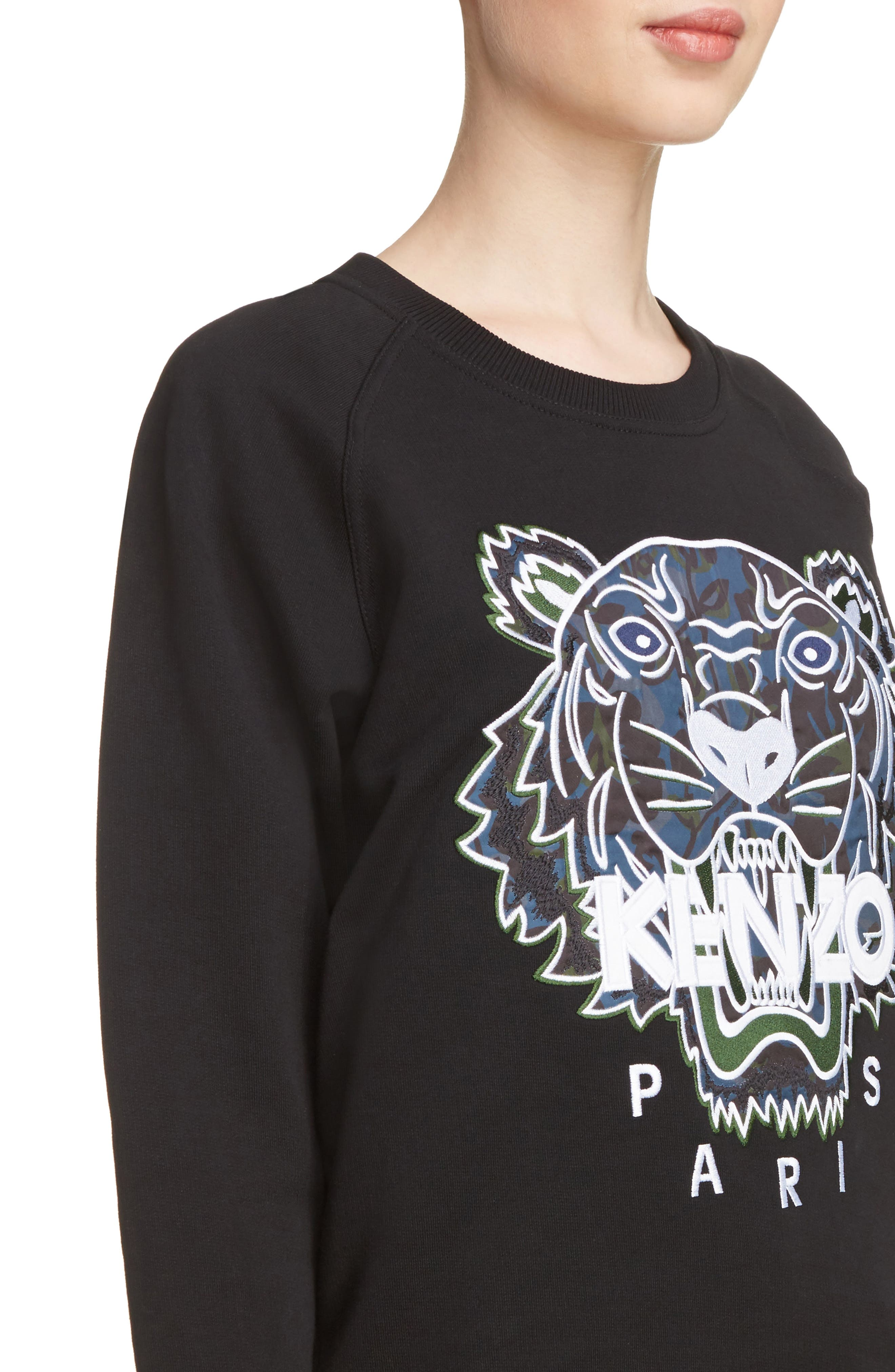 Floral Leaf Tiger Sweatshirt,                             Alternate thumbnail 4, color,                             001