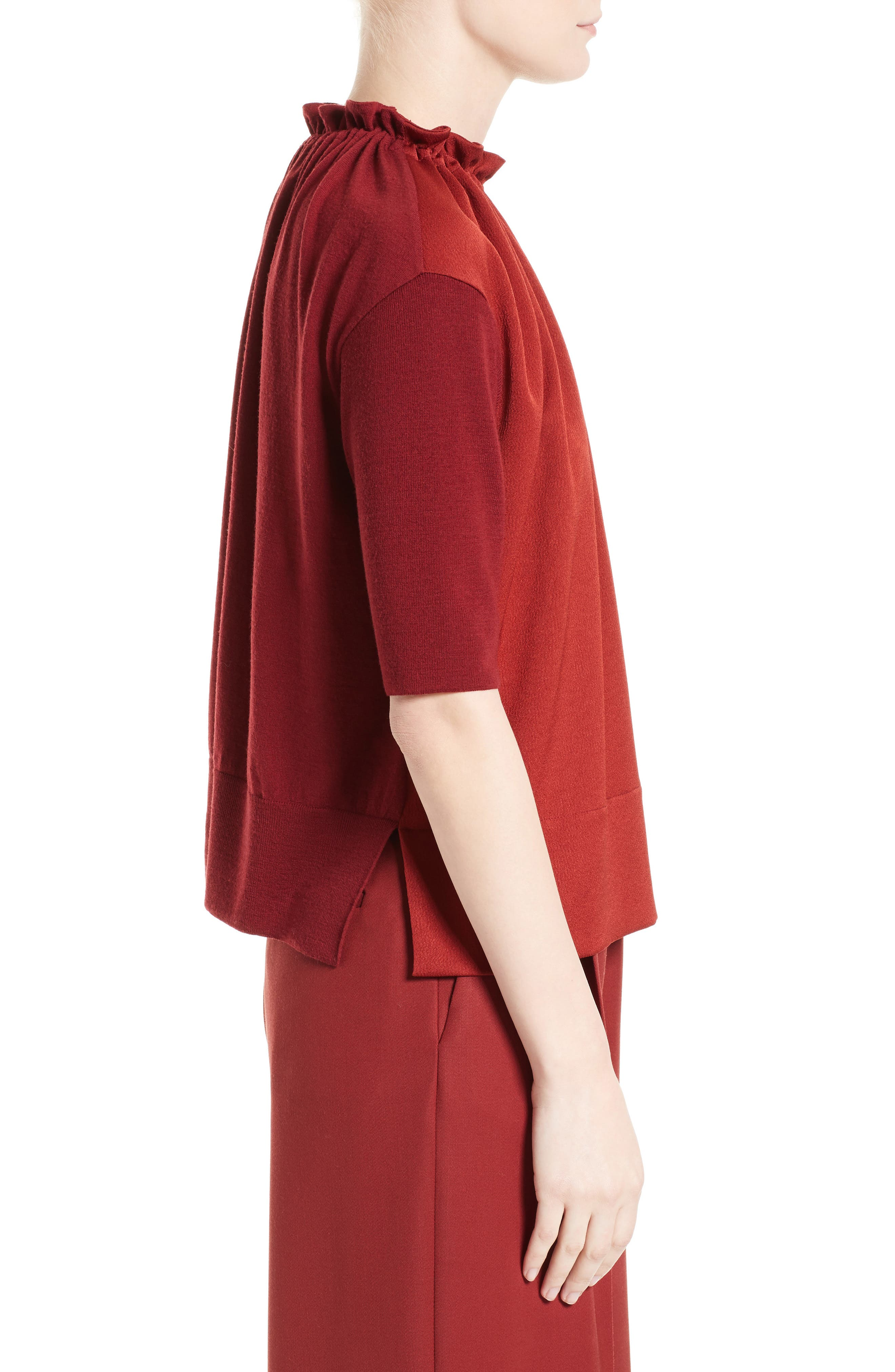 Crepe Gathered Neck Top,                             Alternate thumbnail 3, color,