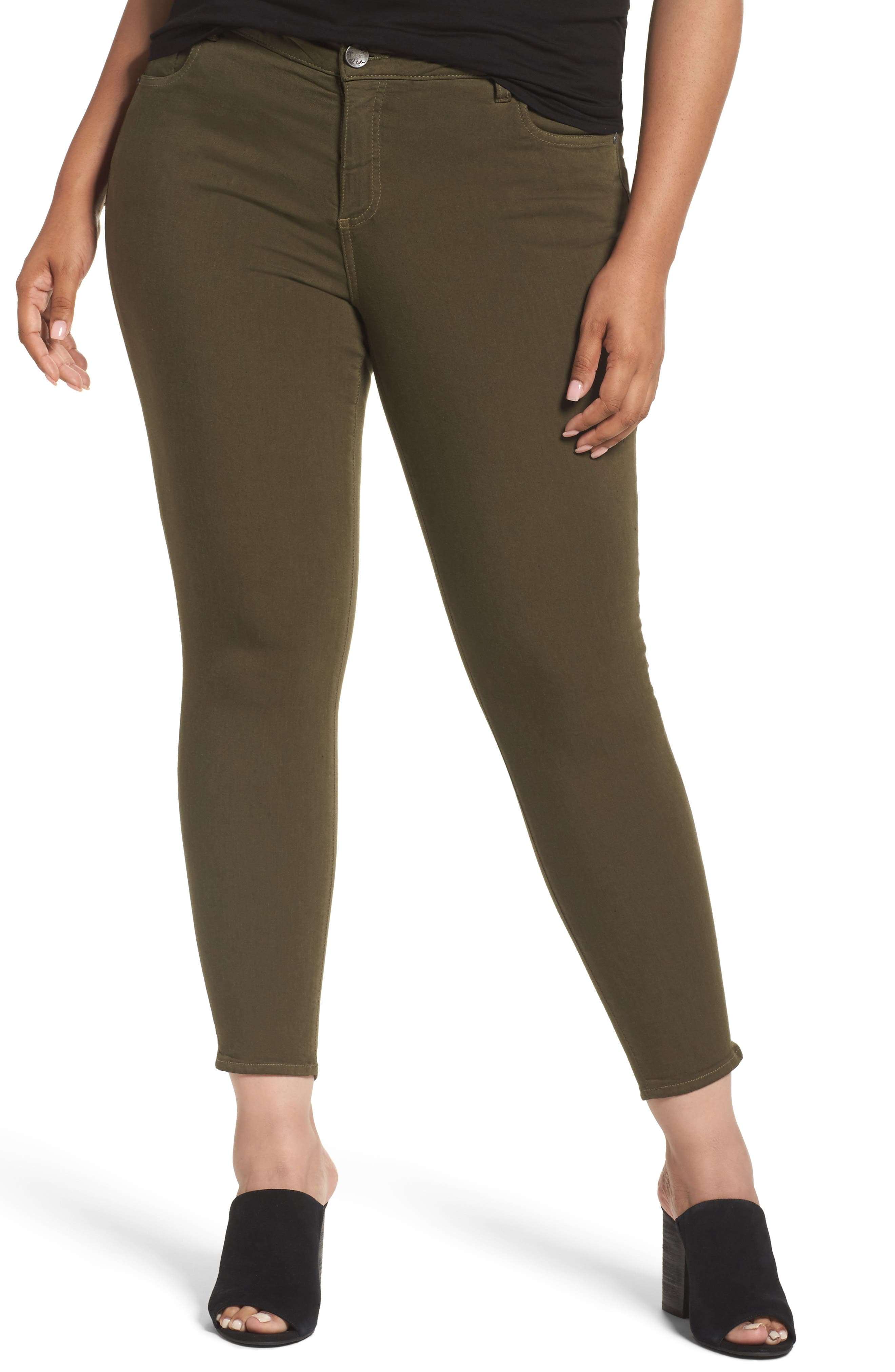 Donna Colored Stretch Skinny Jeans,                             Main thumbnail 1, color,                             OLIVE