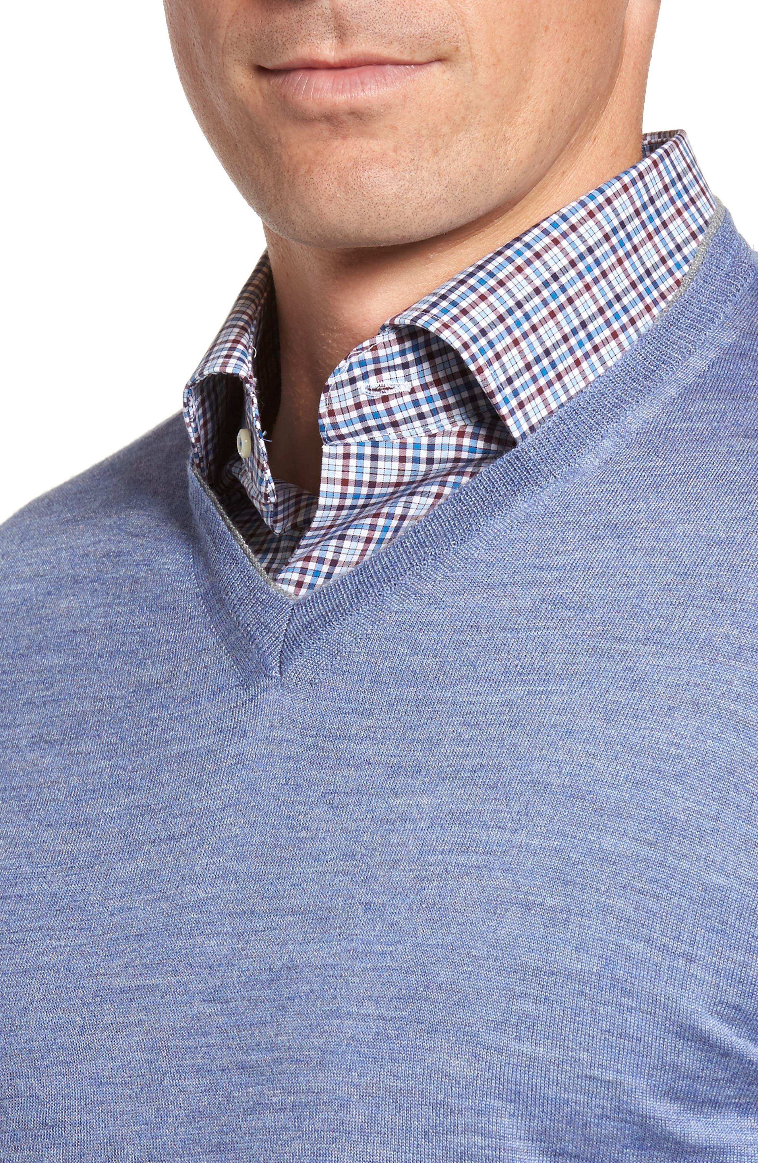 Merino Wool & Silk V-Neck Sweater,                             Alternate thumbnail 4, color,                             439