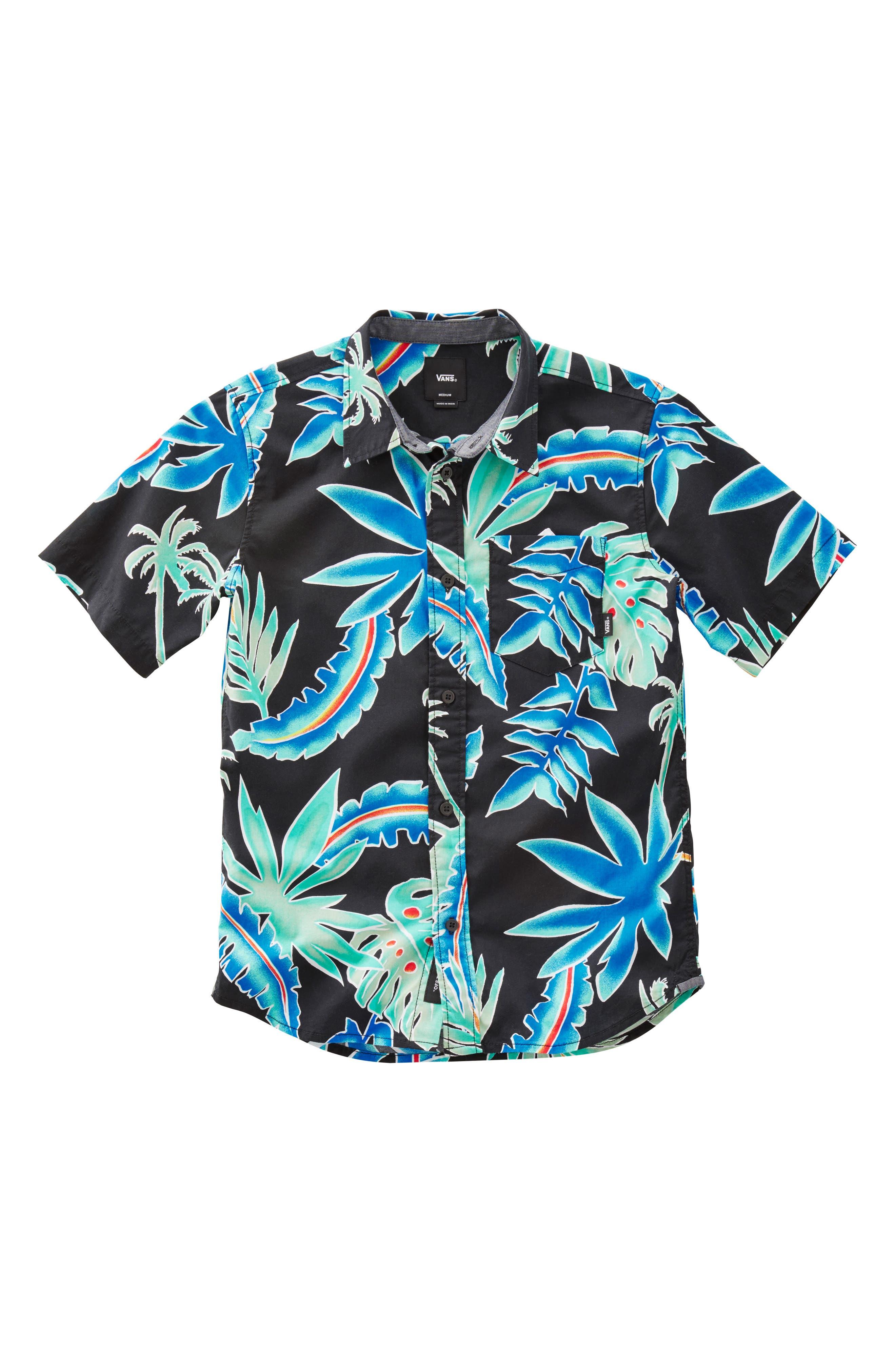 Tropical Floral Woven Shirt,                             Main thumbnail 1, color,                             001