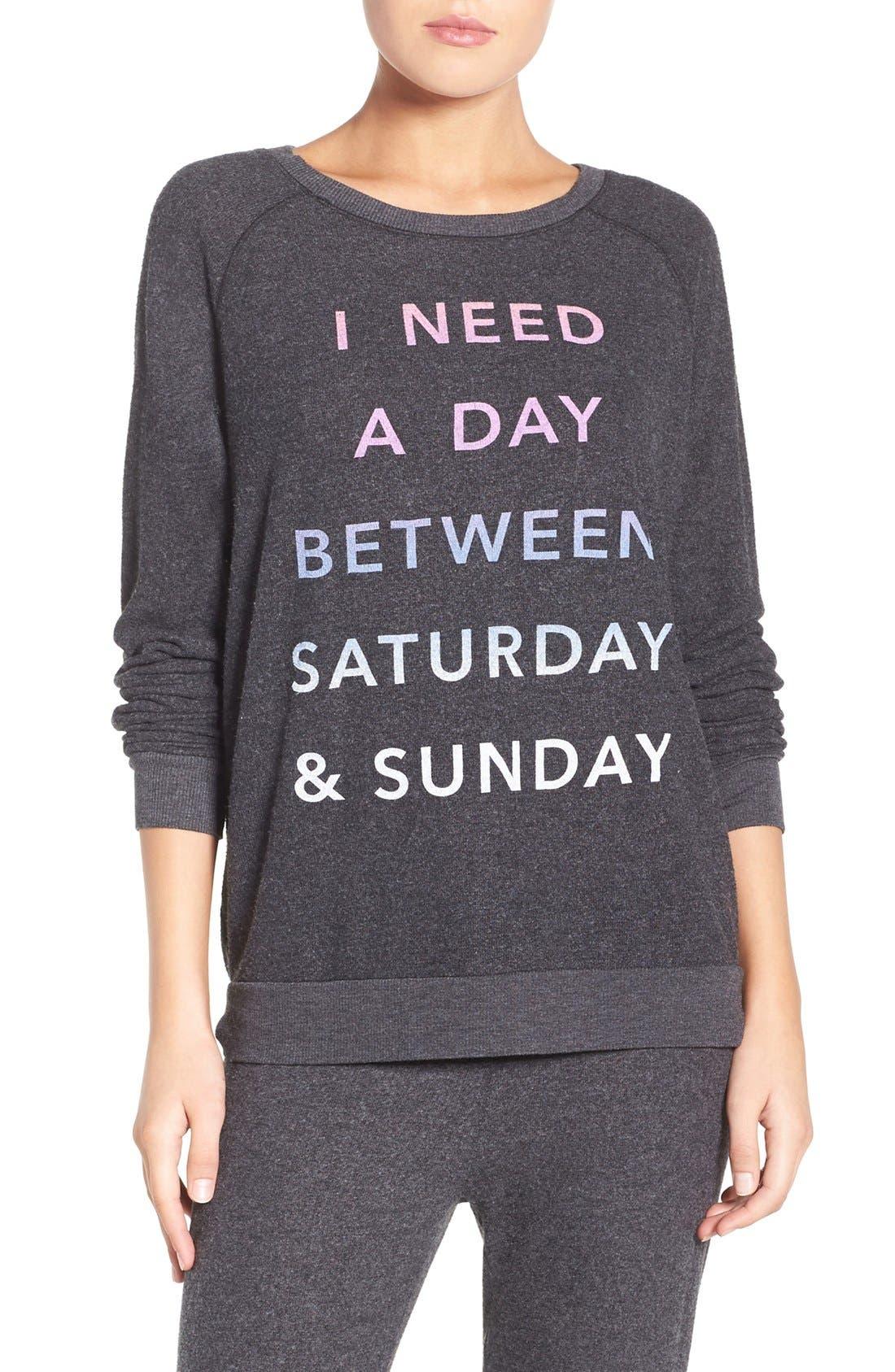 'Saturday & Sunday' Hacci Sweatshirt,                             Main thumbnail 1, color,                             019
