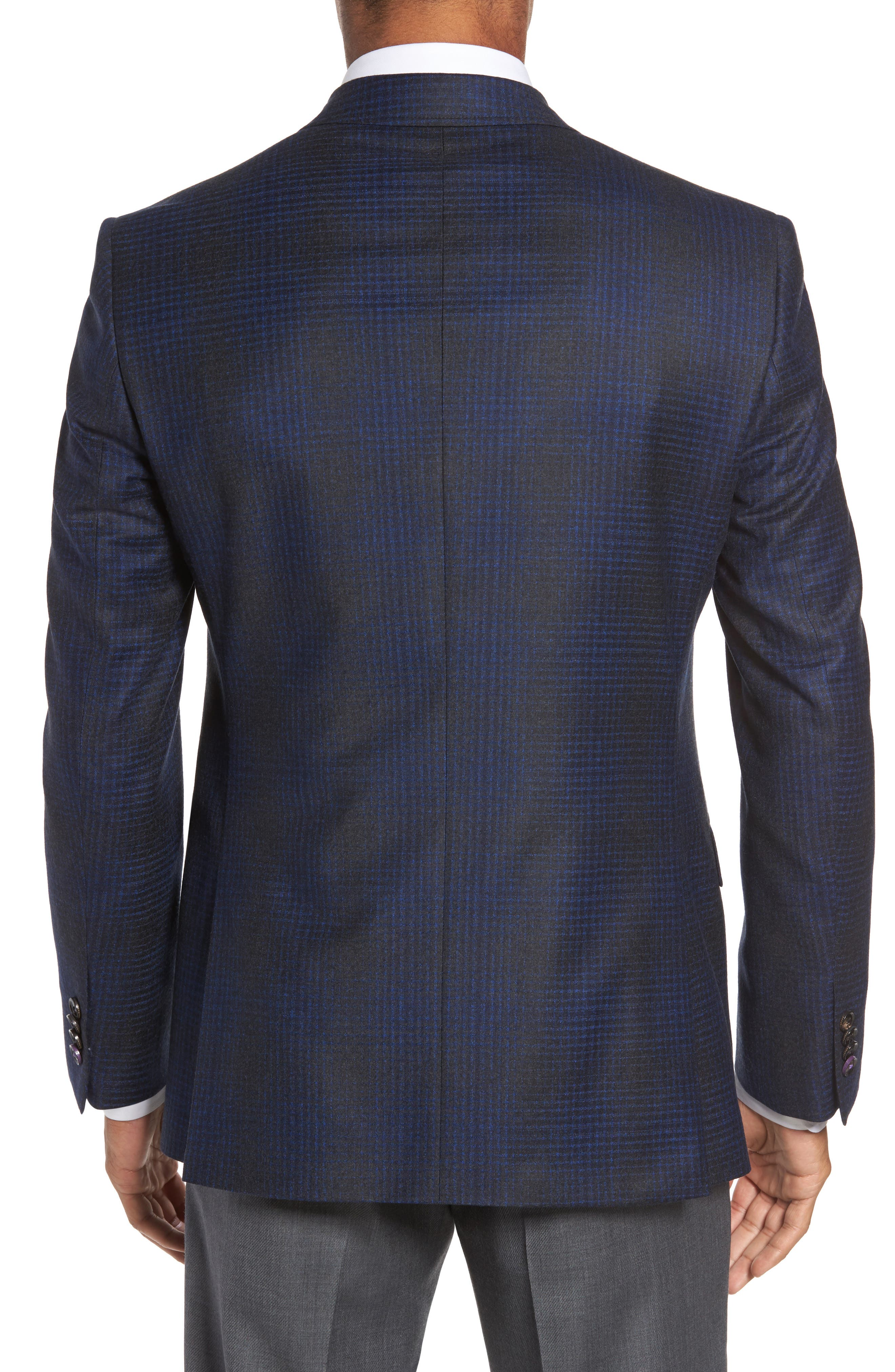Trim Fit Plaid Wool Sport Coat,                             Alternate thumbnail 2, color,                             010