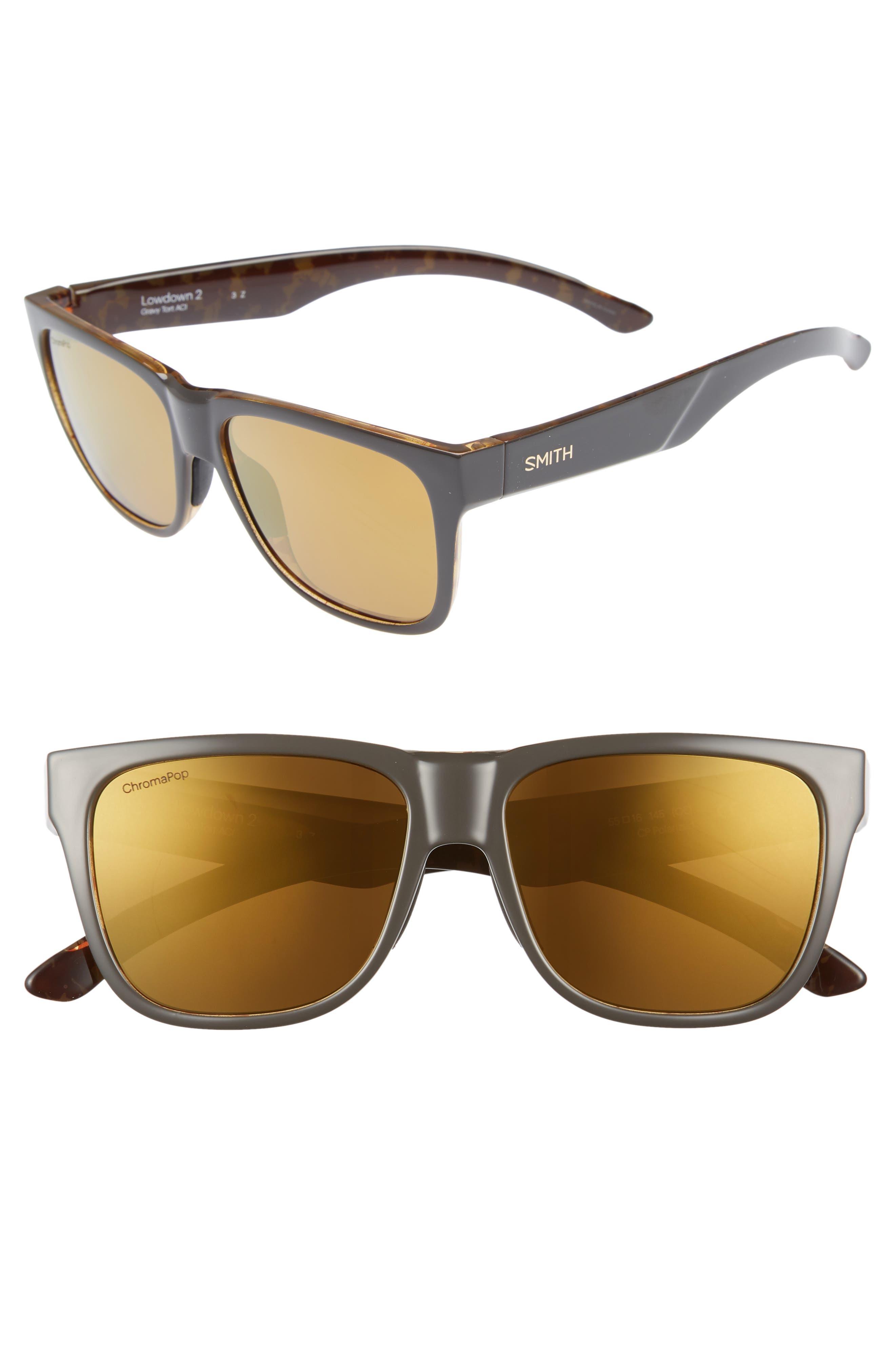 Lowdown 2 55mm ChromaPop<sup>™</sup> Square Sunglasses,                             Main thumbnail 1, color,                             GRAVY TORTOISE