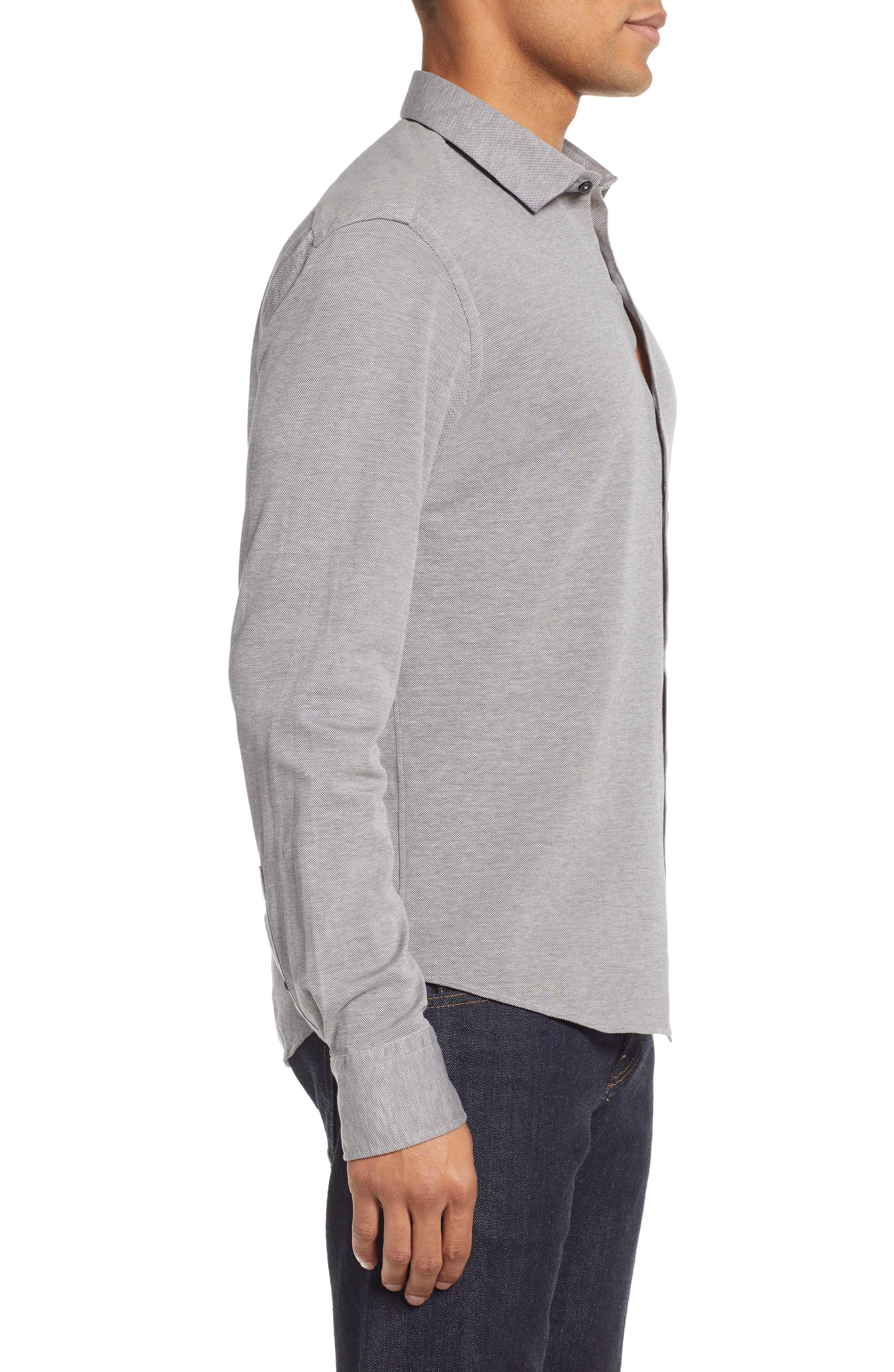 Raphael Regular Fit Sport Shirt,                             Alternate thumbnail 4, color,                             CHARCOAL
