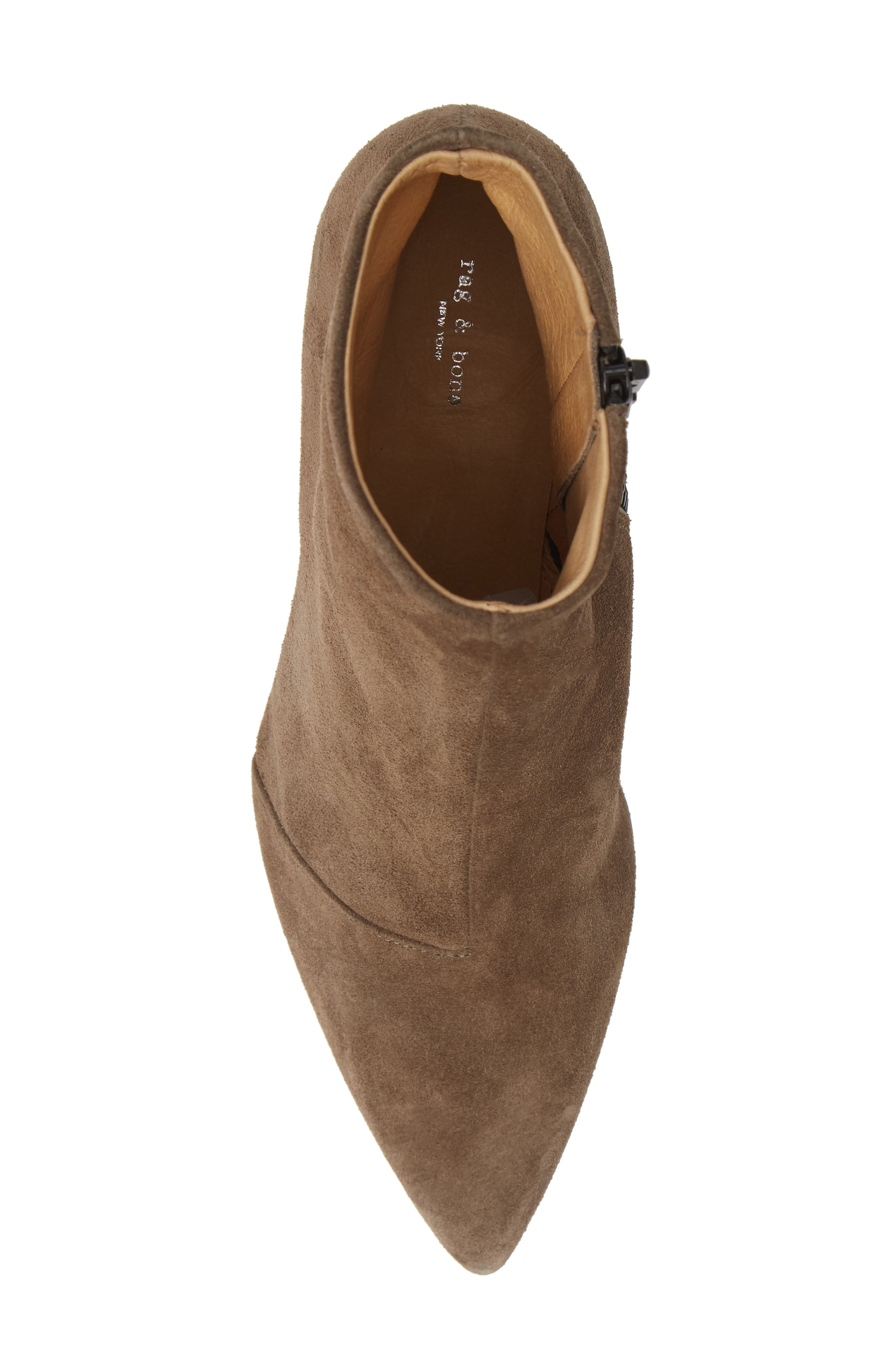 Beha Pointy Toe Bootie,                             Alternate thumbnail 5, color,                             TAUPE SUEDE