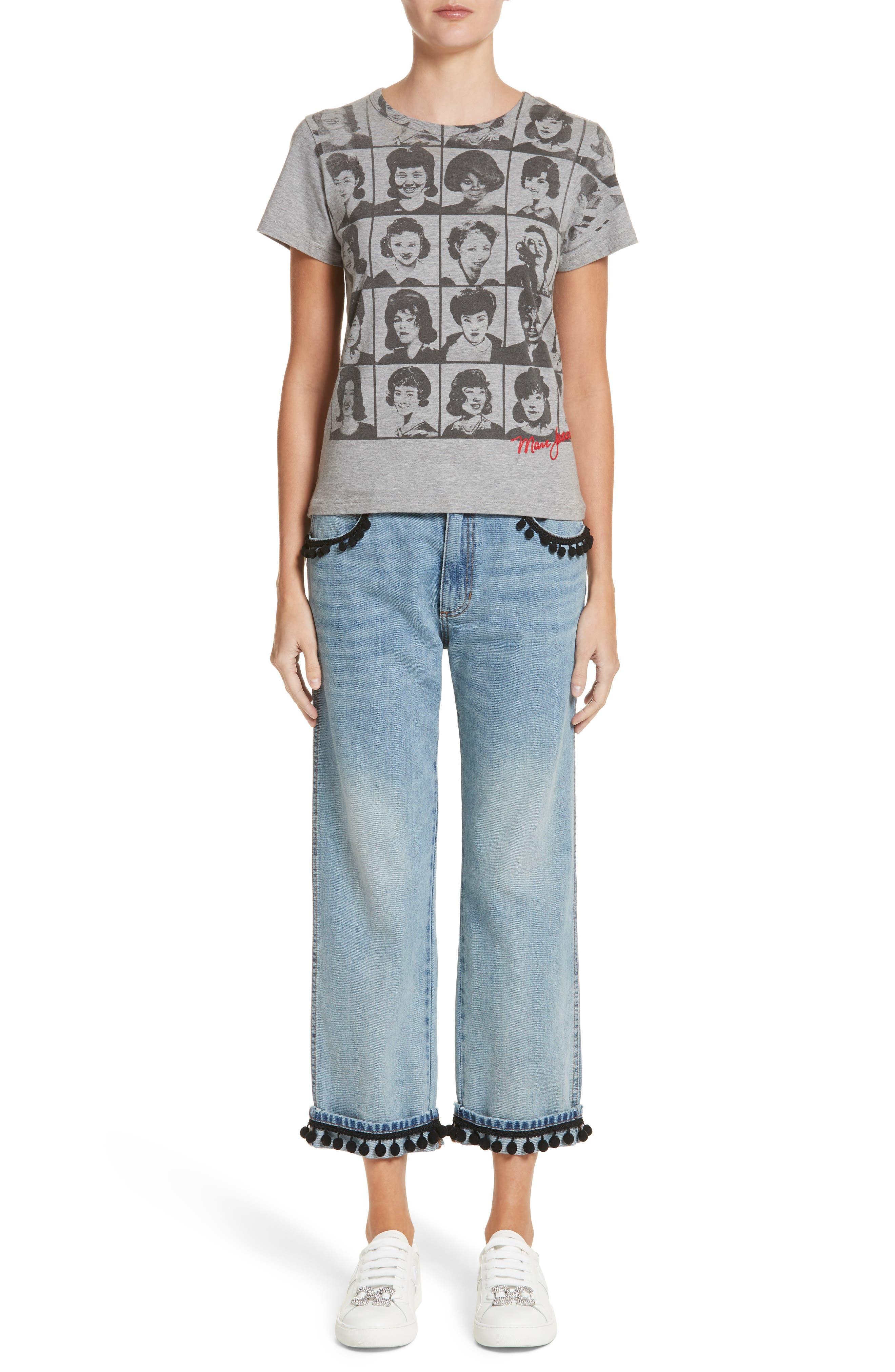 Pom Trim Crop Jeans,                             Alternate thumbnail 7, color,                             489