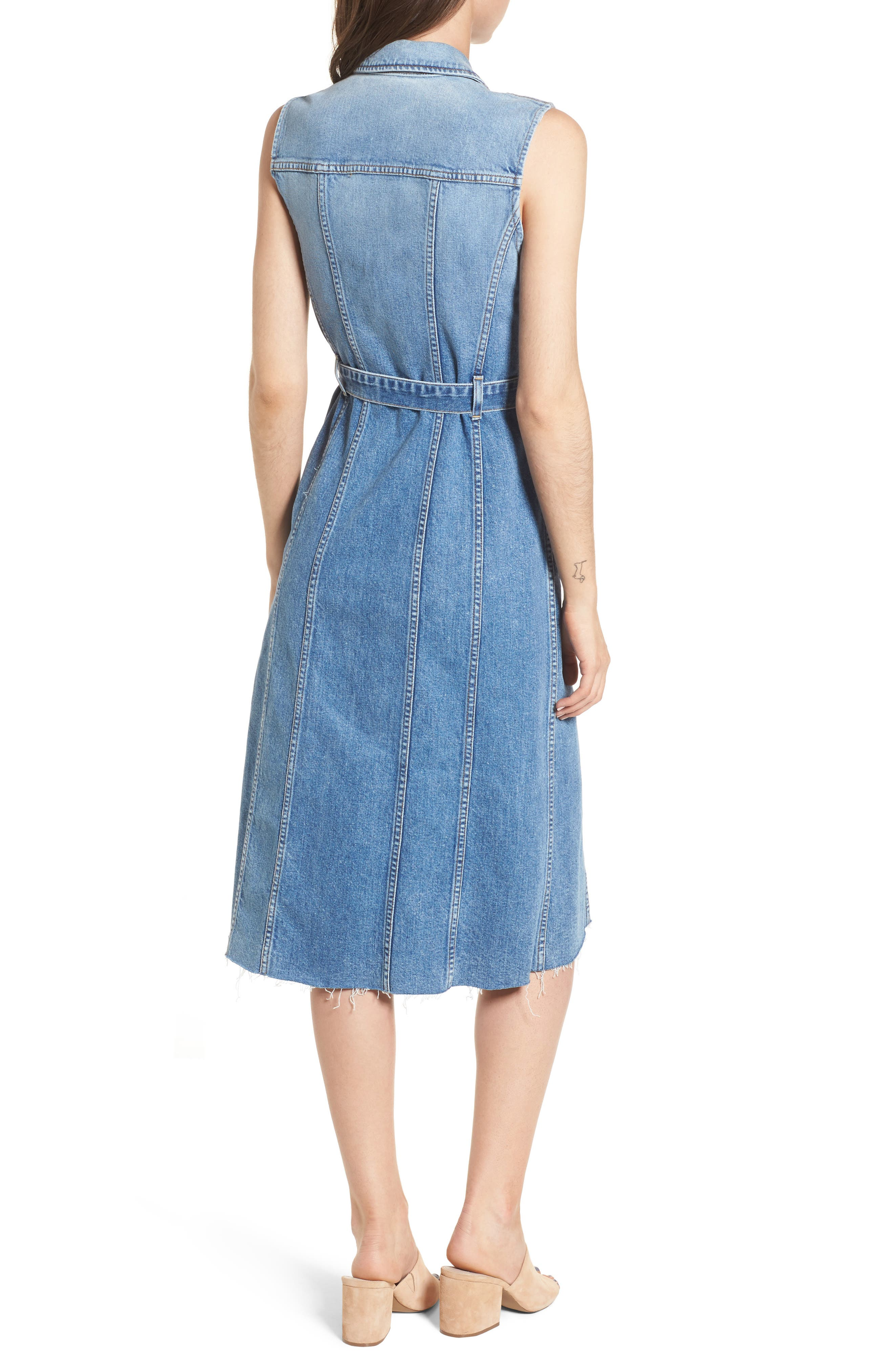 Trucker Denim Midi Dress,                             Alternate thumbnail 2, color,                             401