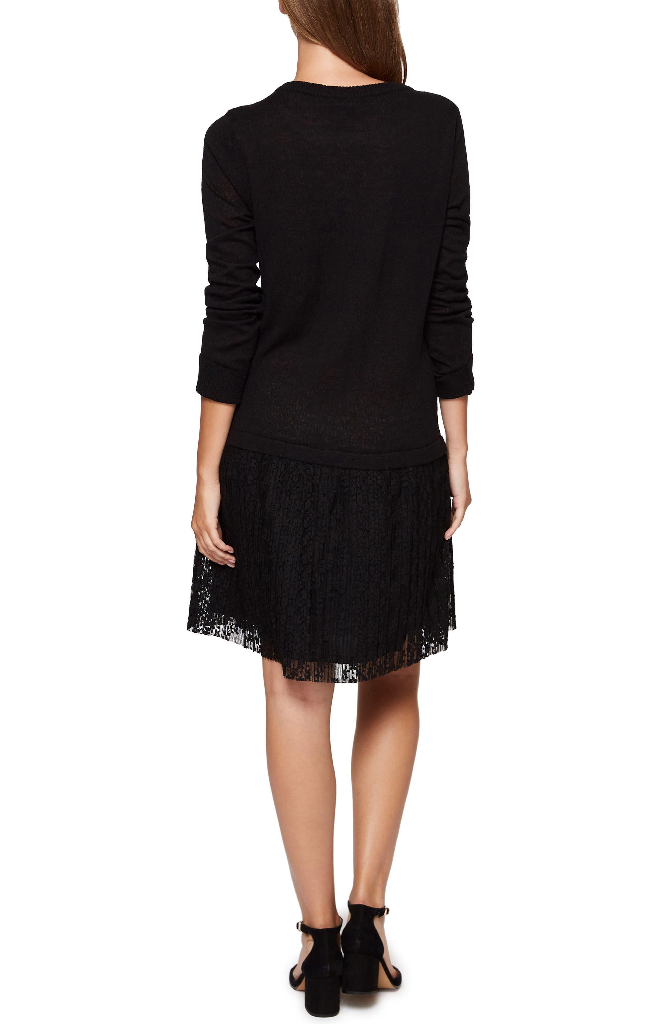 Sophie Lace Skirt Sweater Dress,                             Alternate thumbnail 2, color,                             001