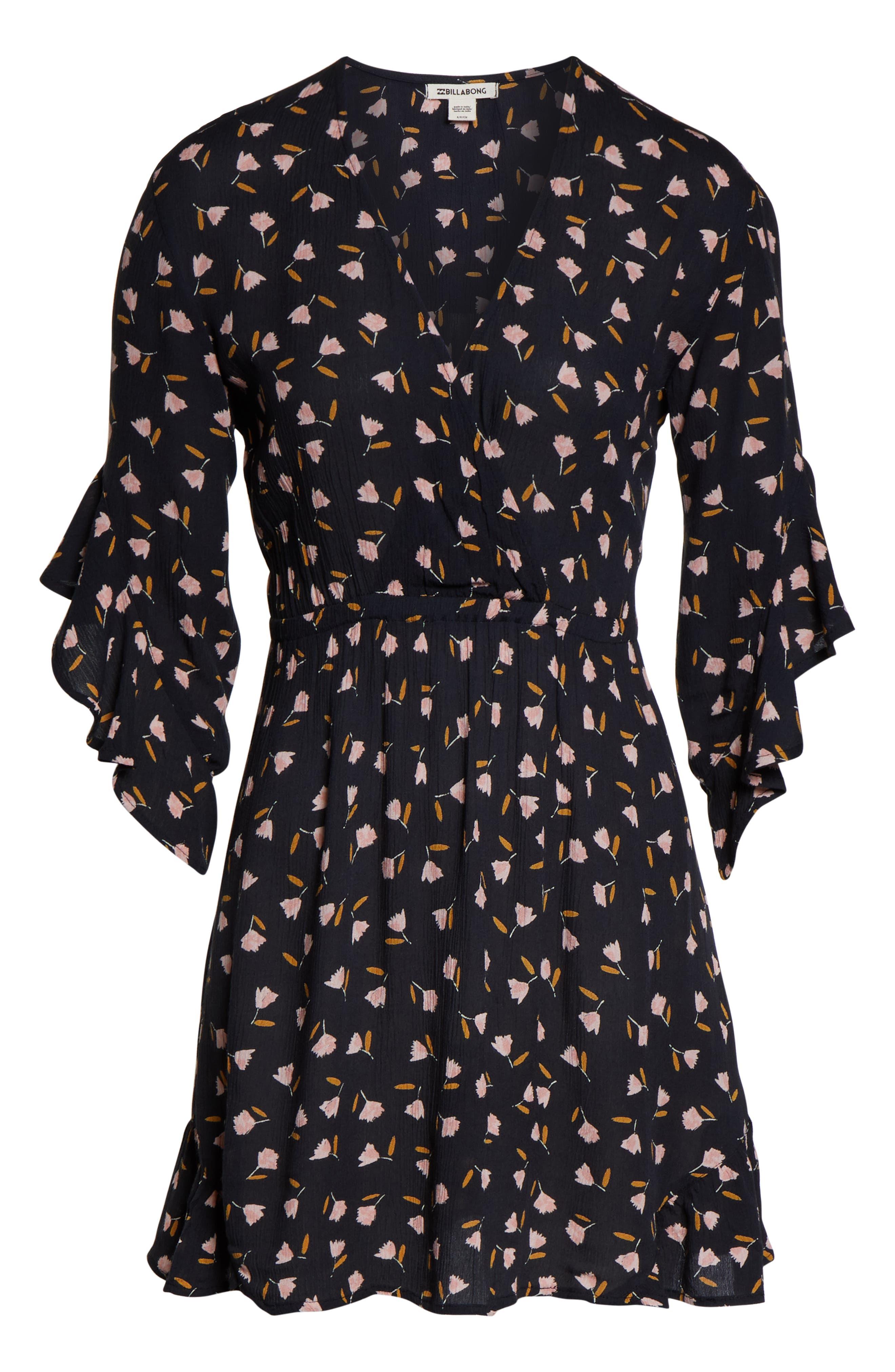 BILLABONG,                             Love Light Floral Print Dress,                             Alternate thumbnail 4, color,                             001