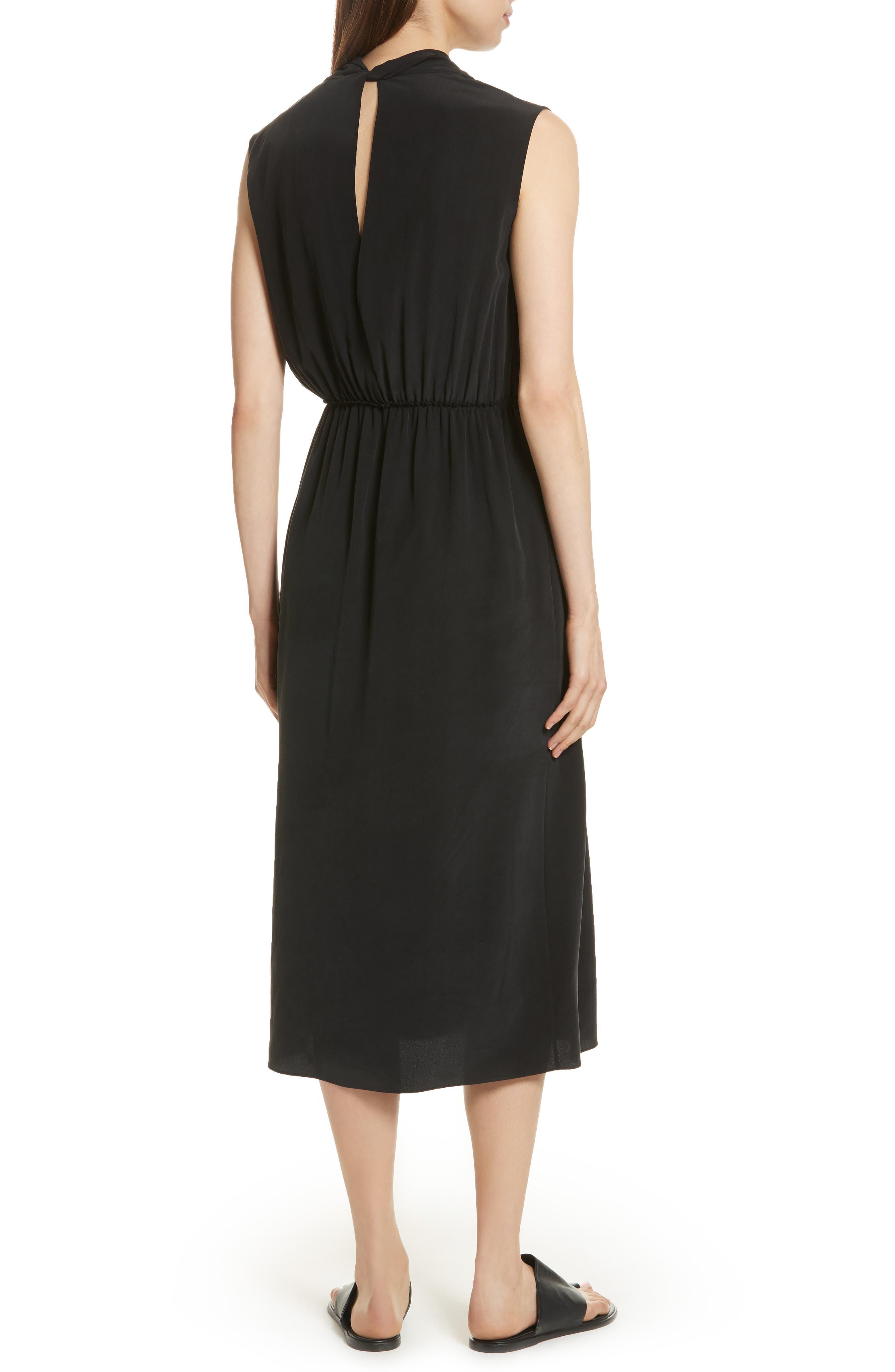 VINCE,                             Draped Silk Cross Front Dress,                             Alternate thumbnail 2, color,                             001