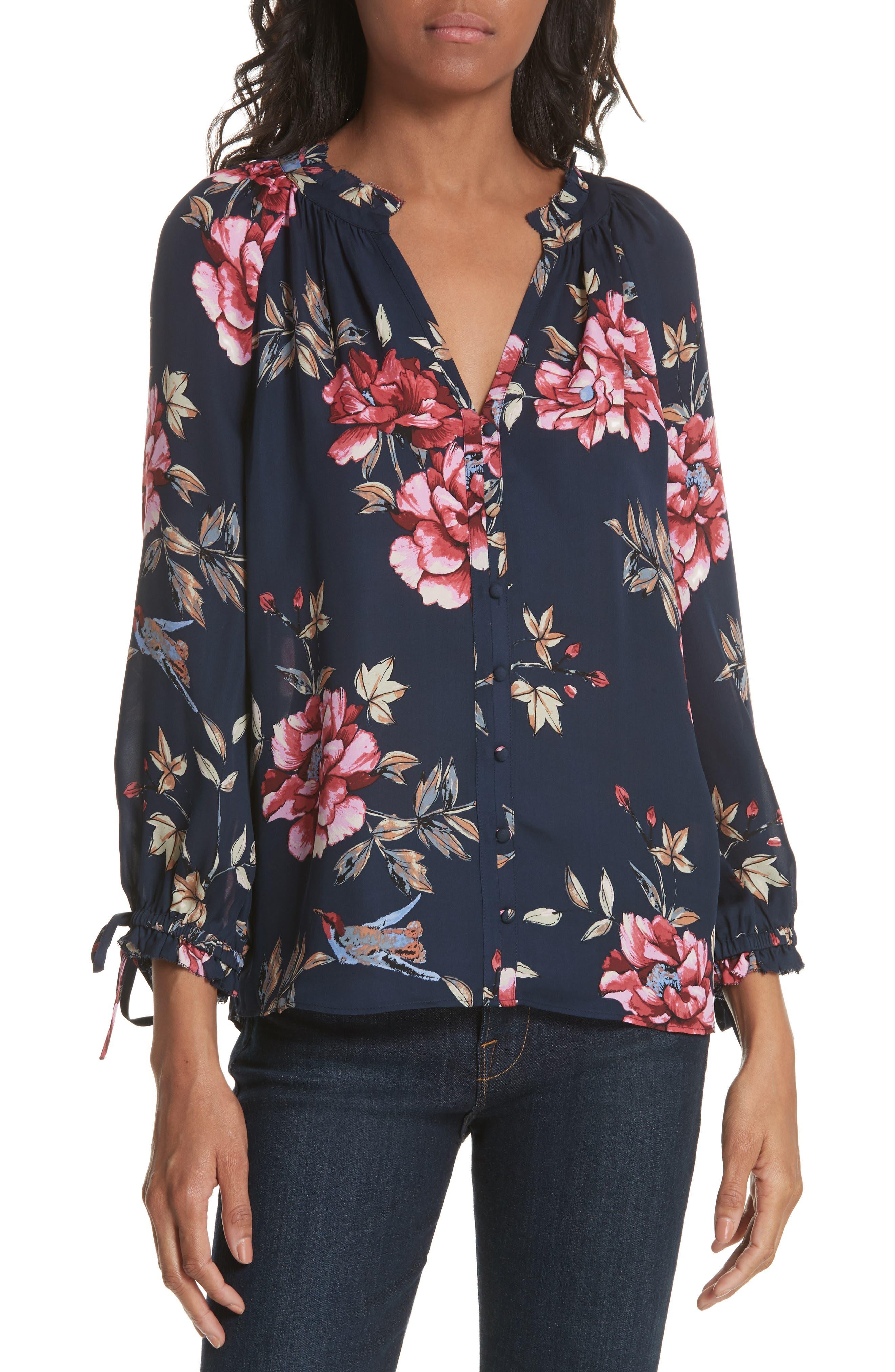 Corsen Floral Silk Blouse,                             Main thumbnail 1, color,                             410