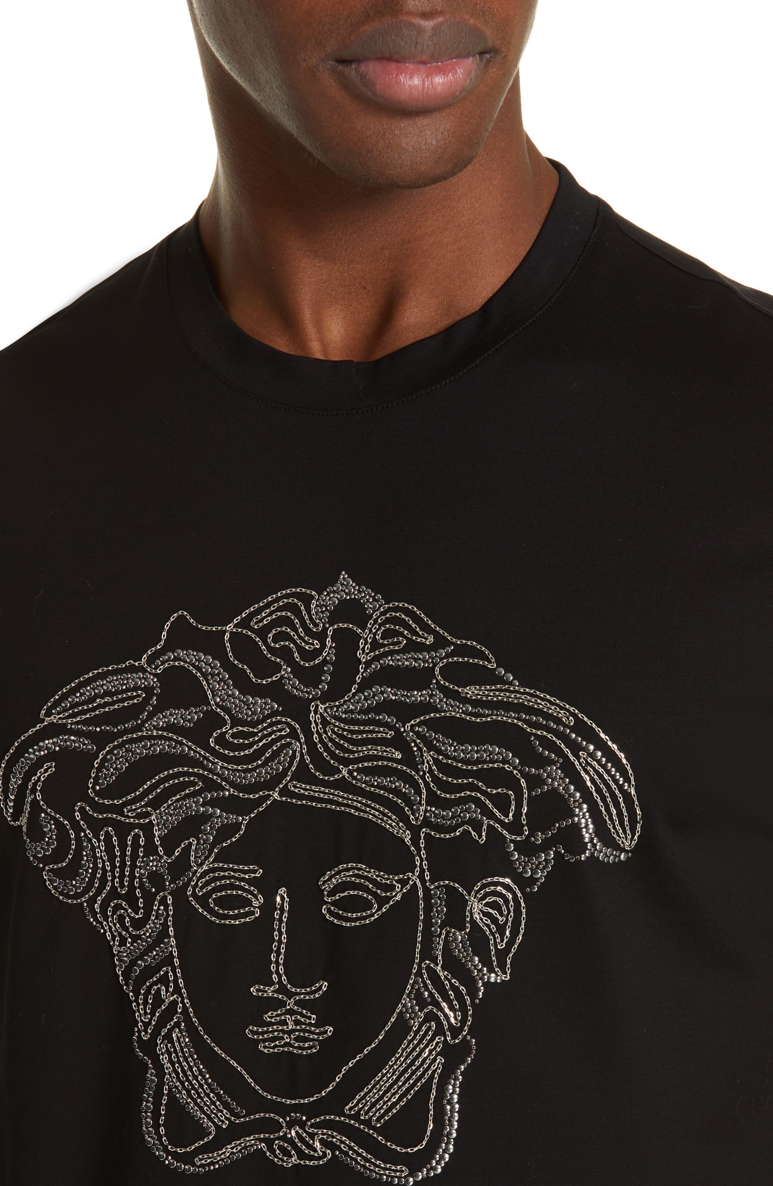 VERSACE,                             Beaded Medusa T-Shirt,                             Alternate thumbnail 4, color,                             BLACK