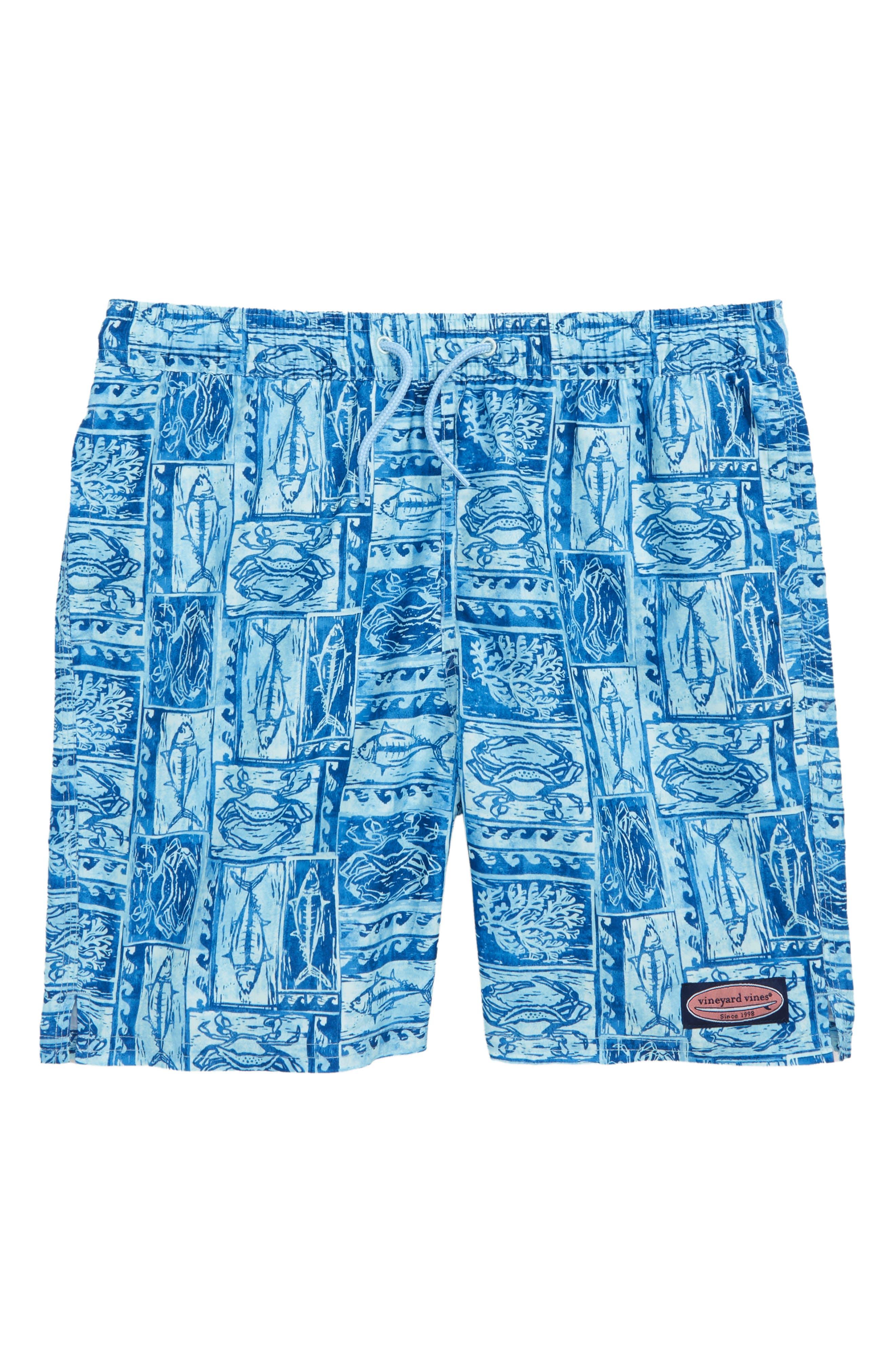 Chappy Woodblock Sea Life Swim Trunks,                         Main,                         color, JAKE BLUE
