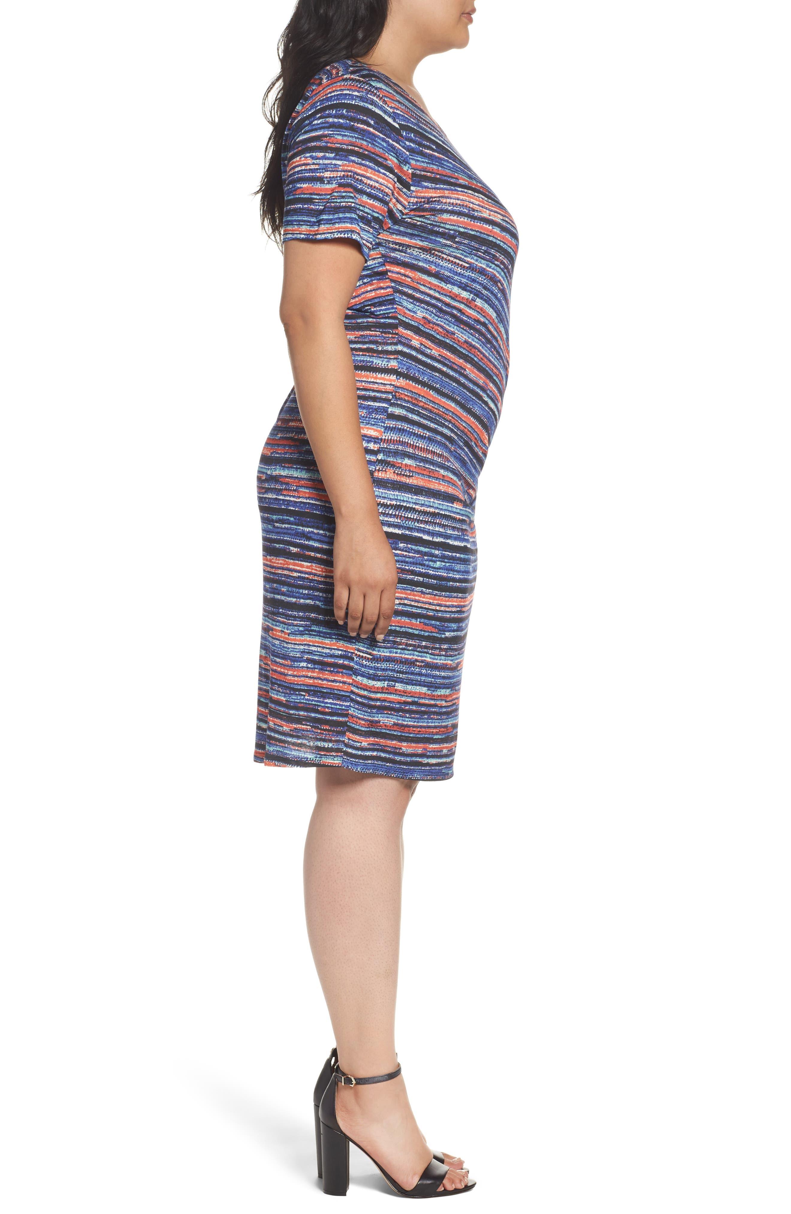 Painterly Stripe Sheath Dress,                             Alternate thumbnail 3, color,                             450