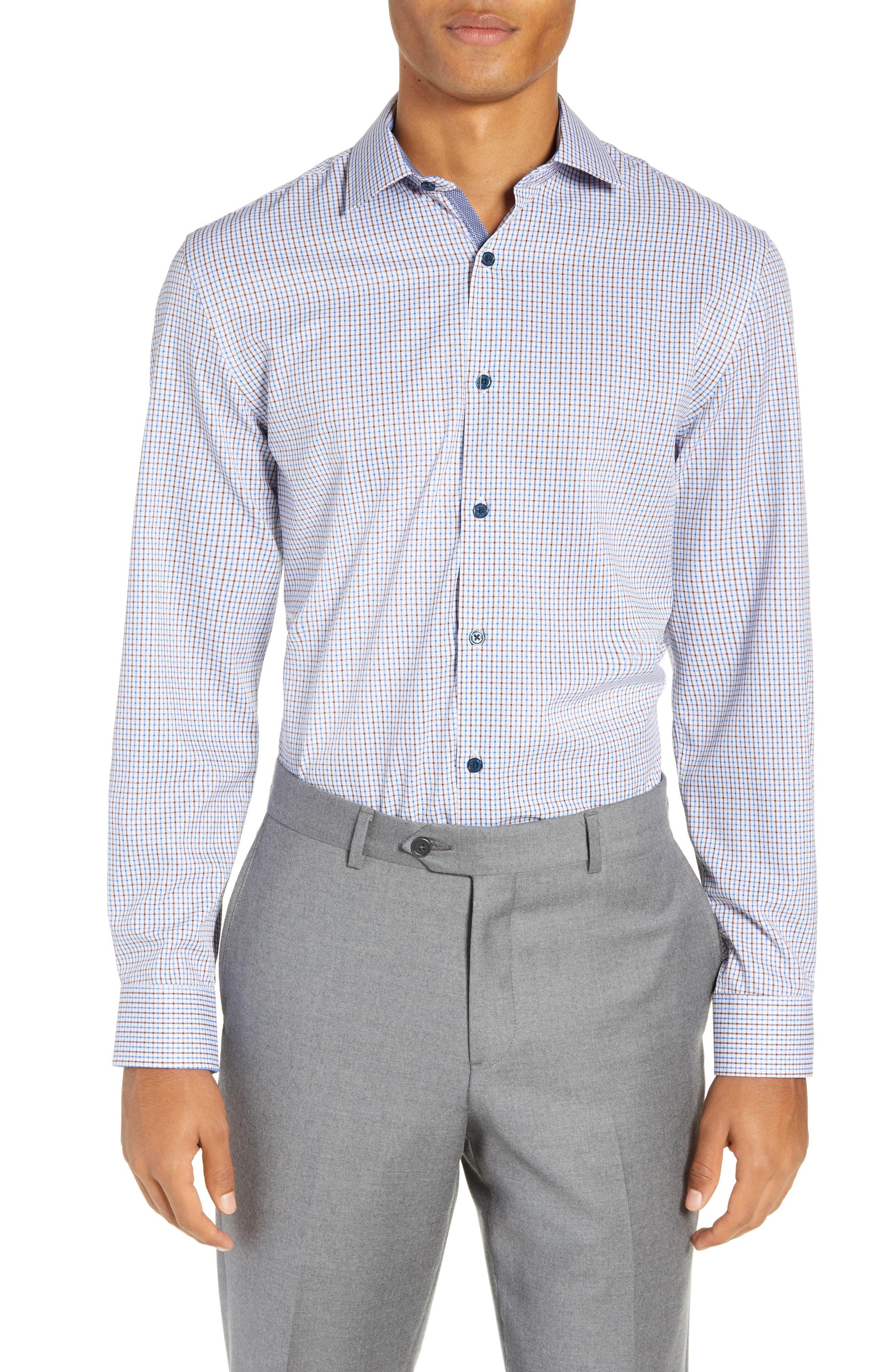 Trim Fit 4-Way Stretch Check Dress Shirt,                             Main thumbnail 1, color,                             BLUE