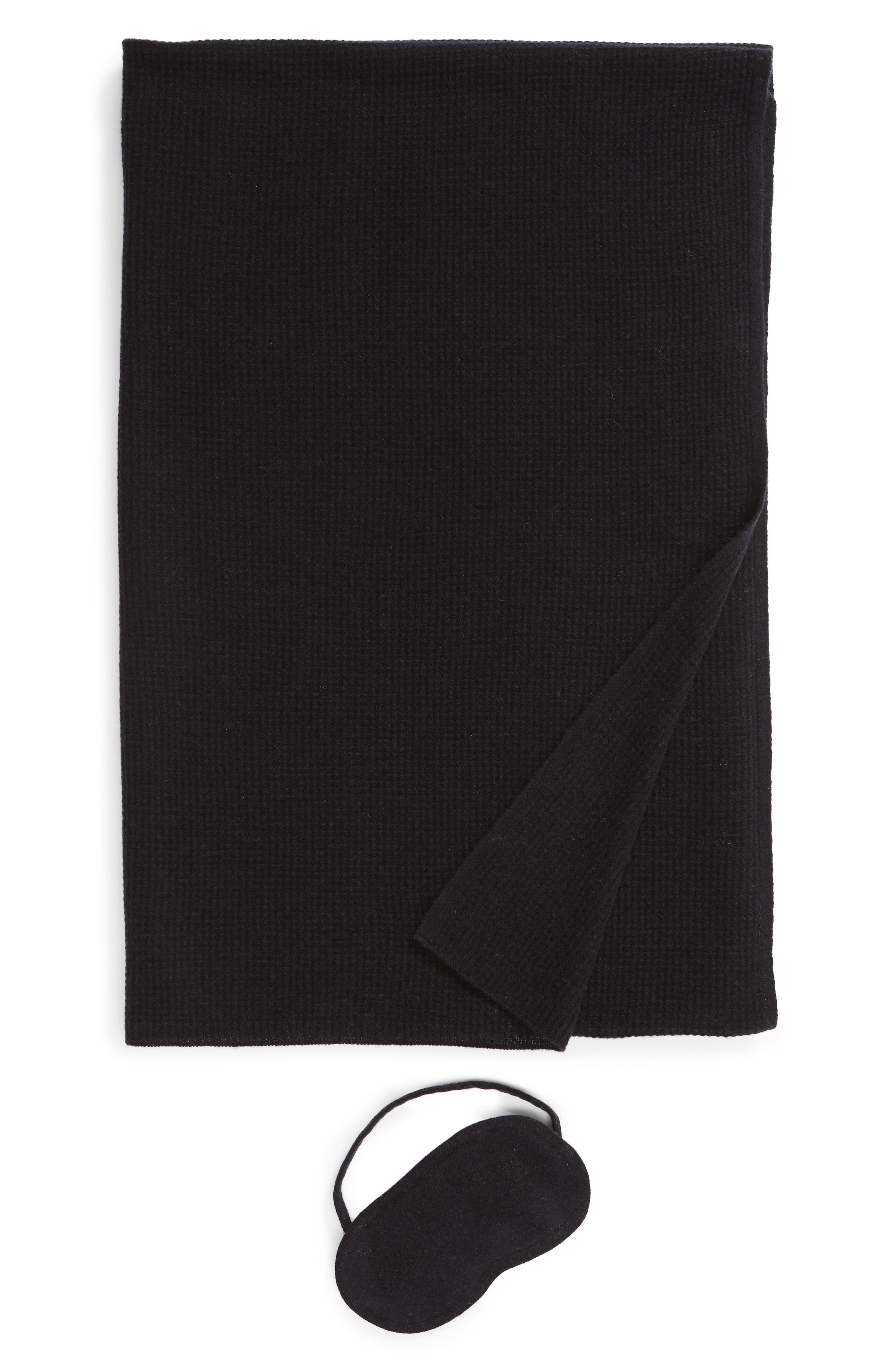 HALOGEN<SUP>®</SUP>,                             Wool & Cashmere Eye Mask & Travel Wrap Gift Set,                             Main thumbnail 1, color,                             BLACK