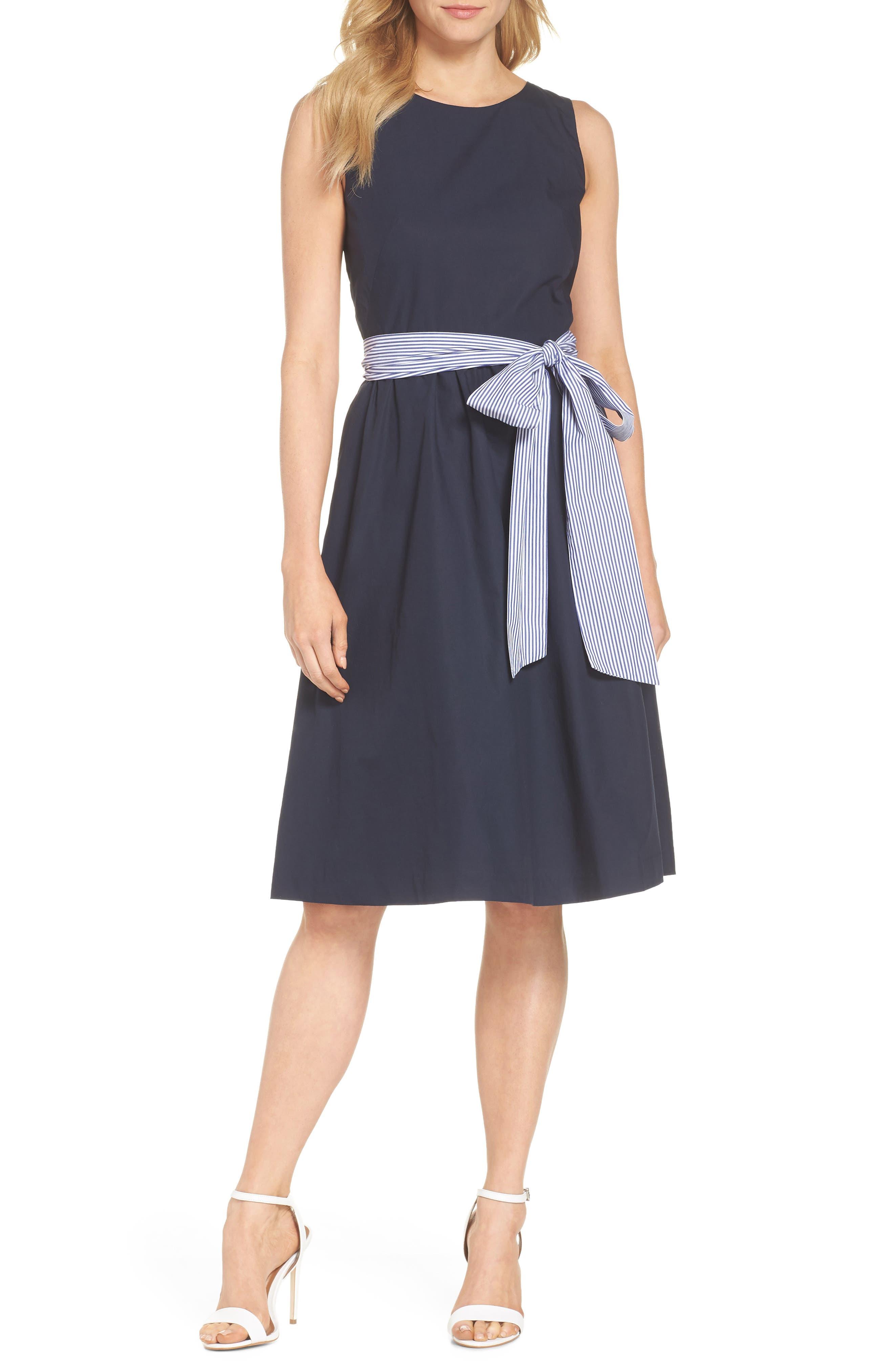 Two-Tone Tie Waist Sheath Dress,                             Main thumbnail 1, color,                             401